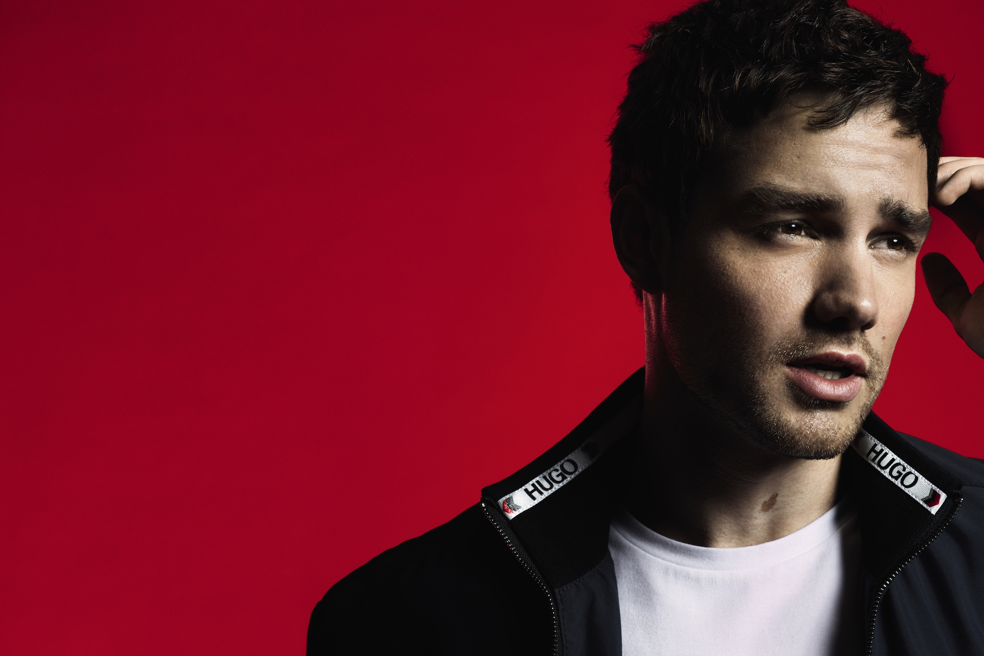 Liam Payne x HUGO campaign imagery zip up