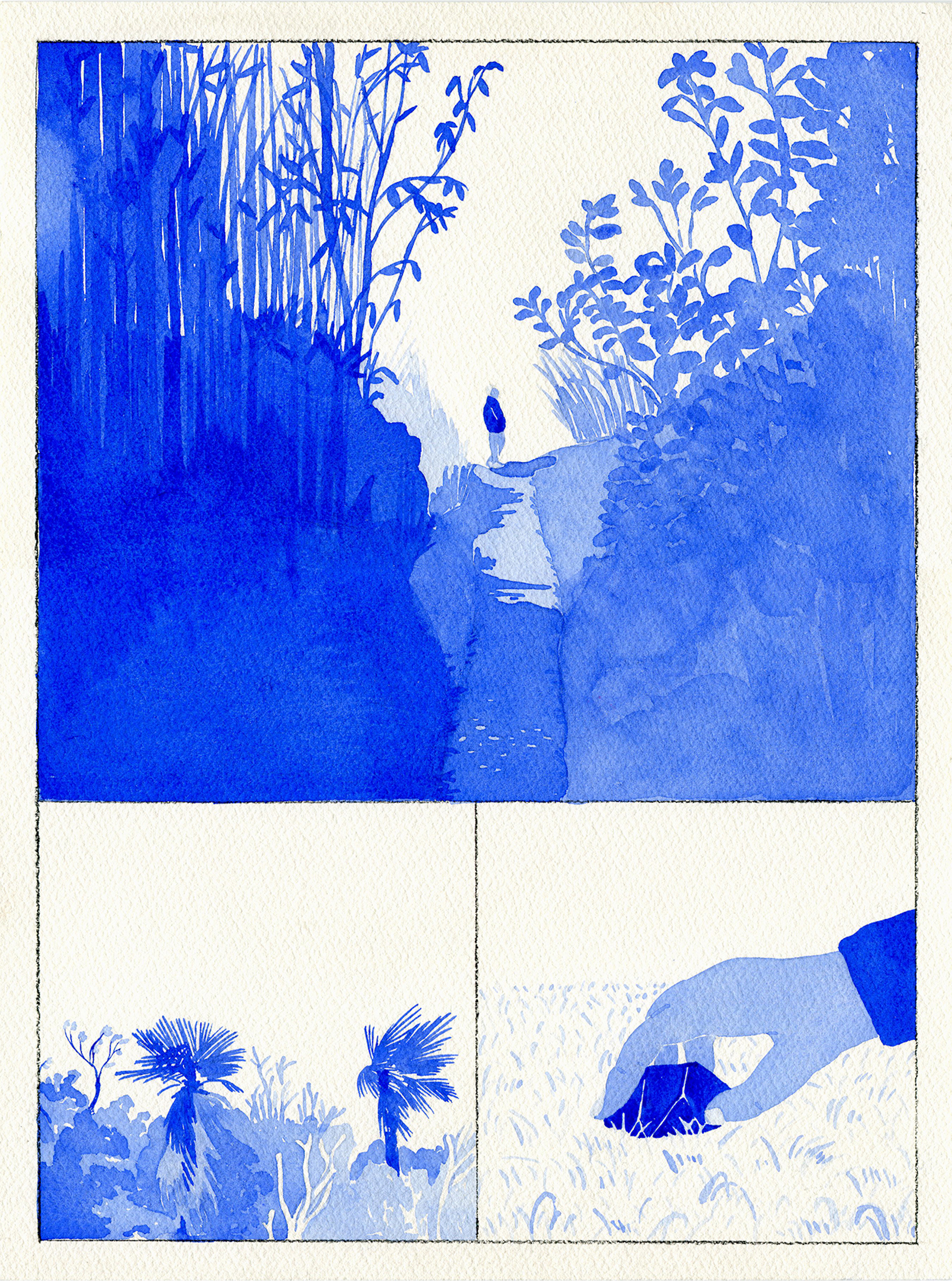 Korean illustrator Byun Young Geun blue paths