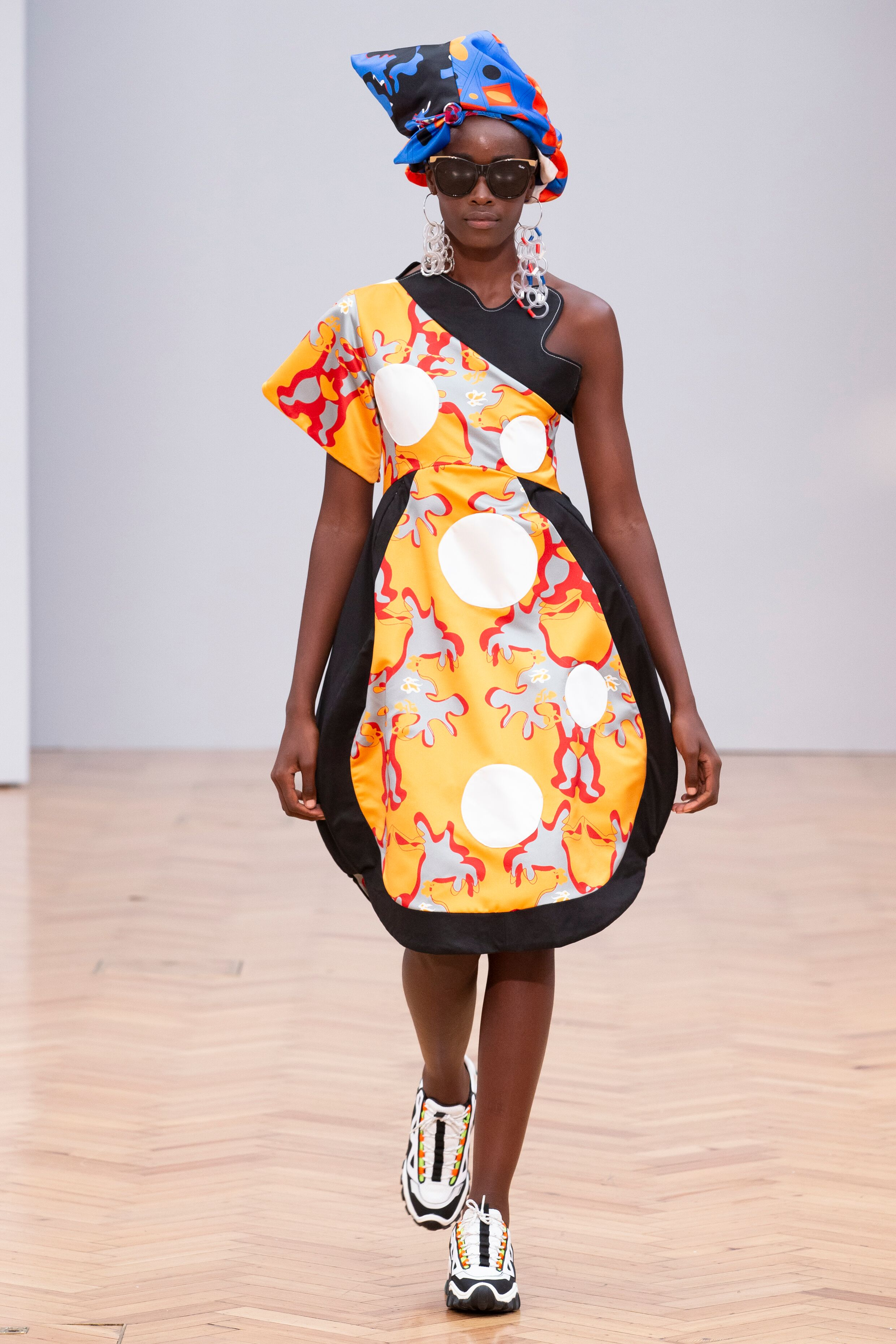 Istituto Marangoni new era fashion show patterned asymetric dress