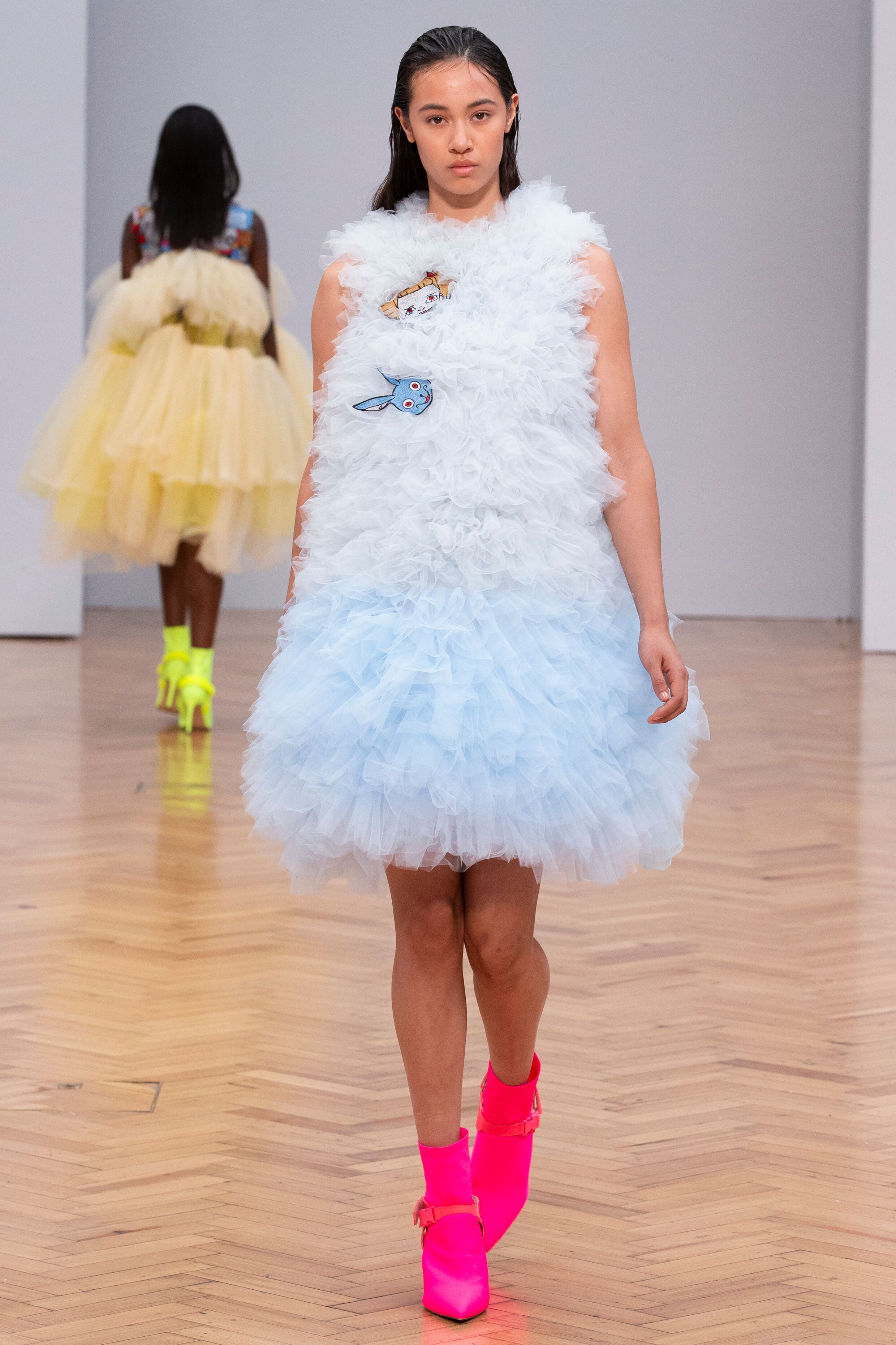 pale blue tulle dress Istituto Marangoni new era fashion show