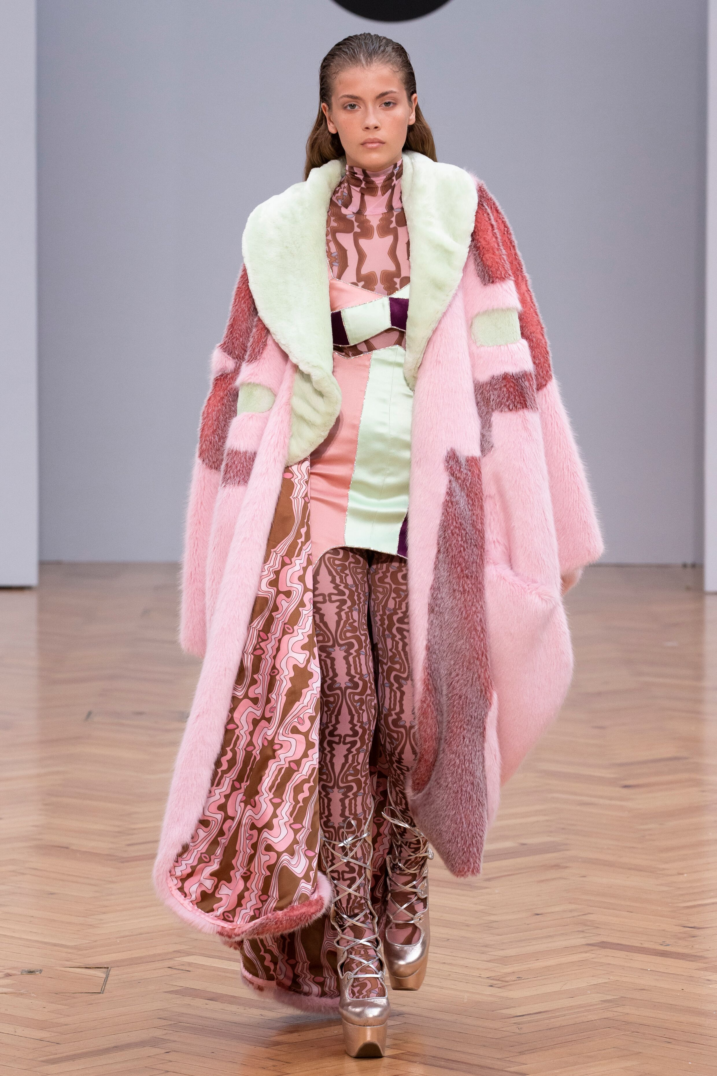 Istituto Marangoni new era fashion show fluffy faux fur pastel coat