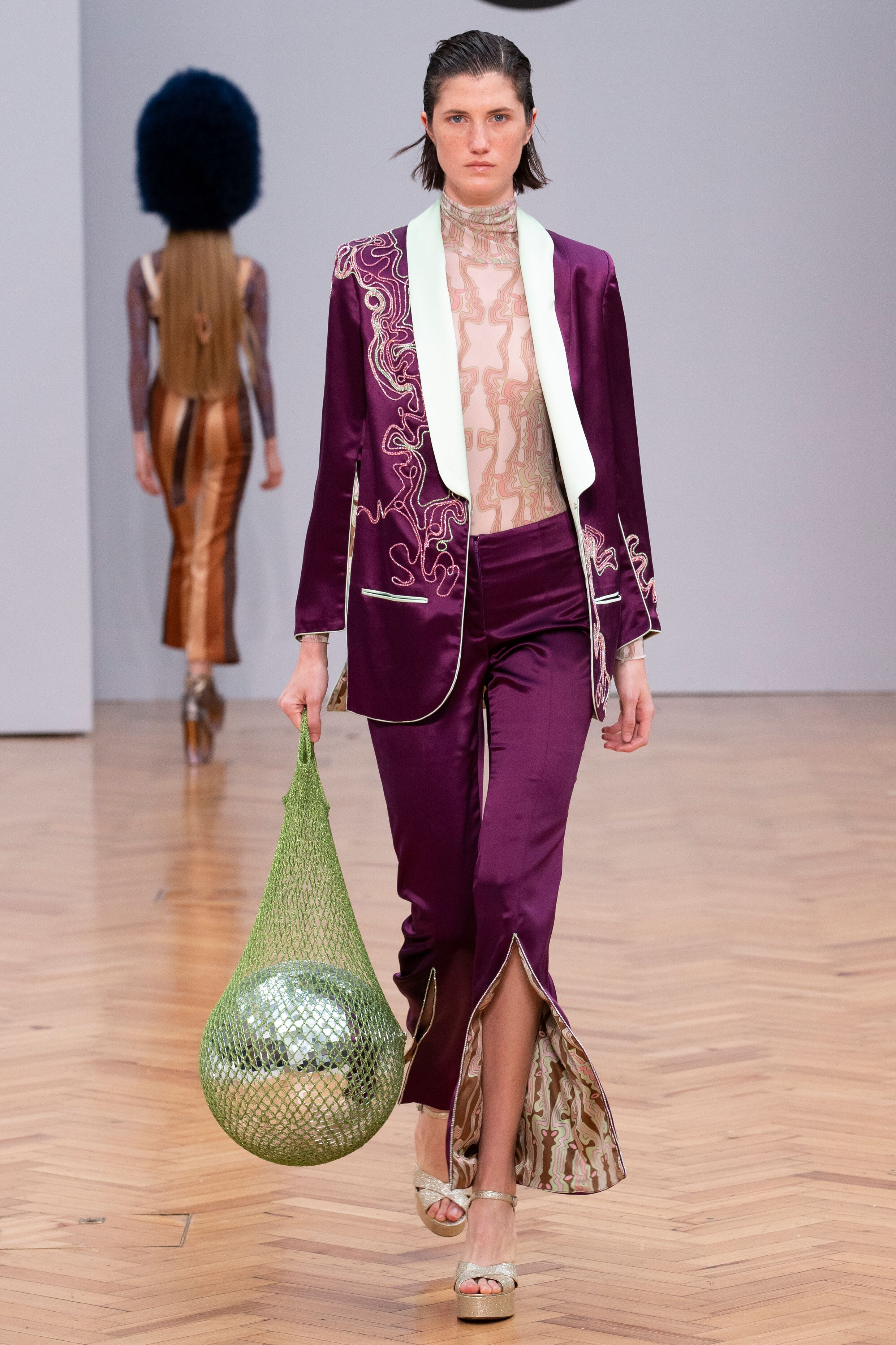 purple velvet suit Istituto Marangoni new era fashion show