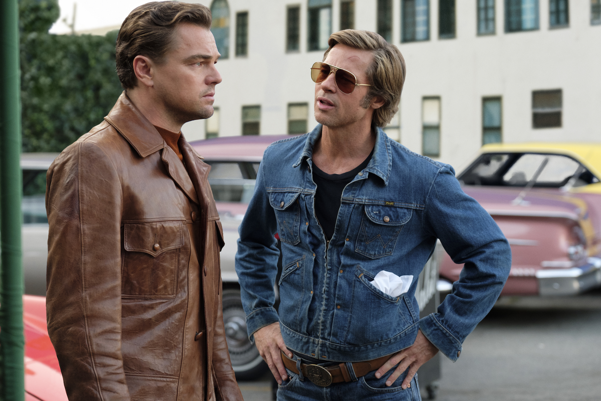 Leonardo DiCaprio and Brad Pitt star in ONCE UPON TIME IN HOLLYWOOD leather jacket