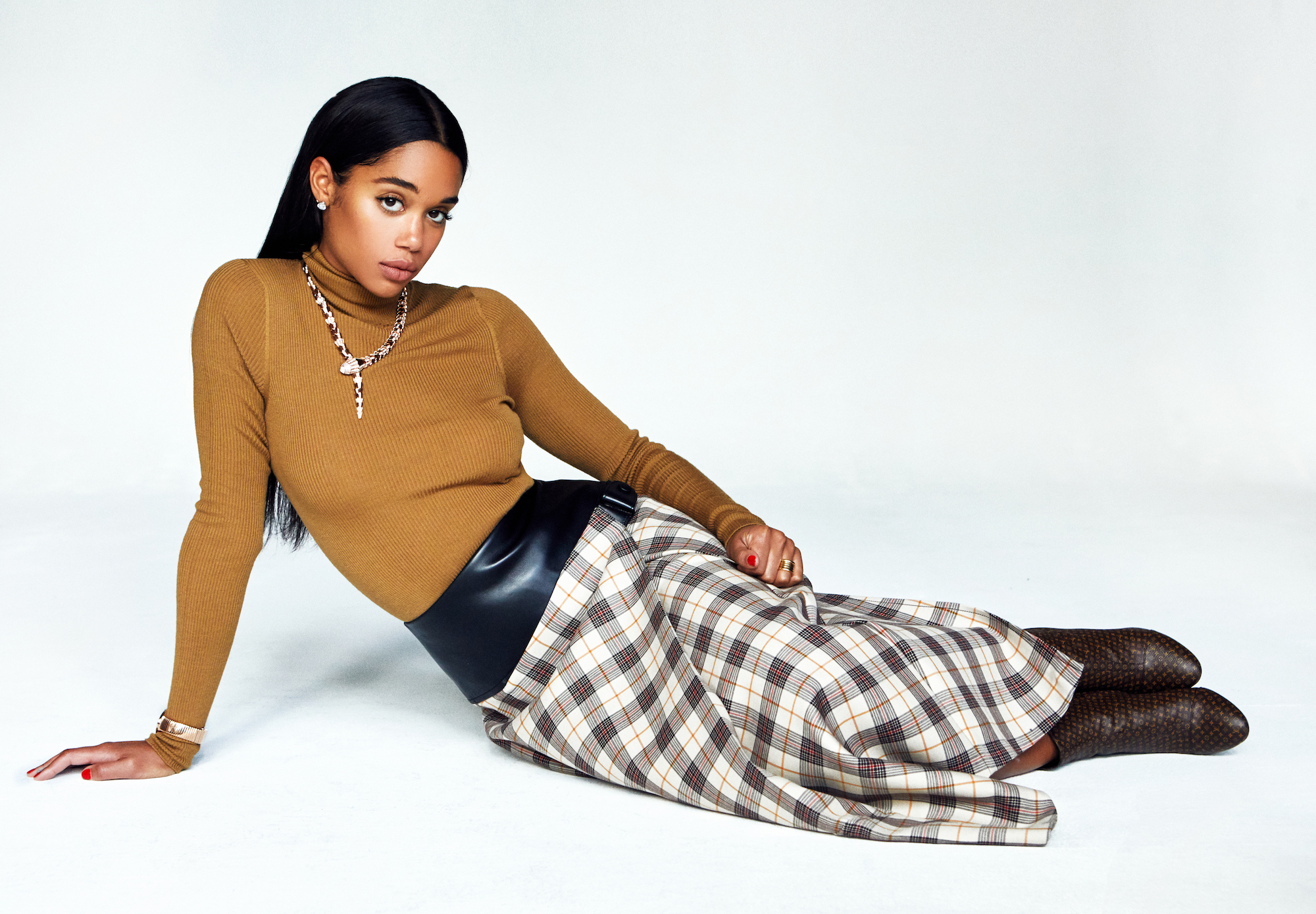 Laura Harrier on the cover of the Summer 19 issue of Wonderland check skirt