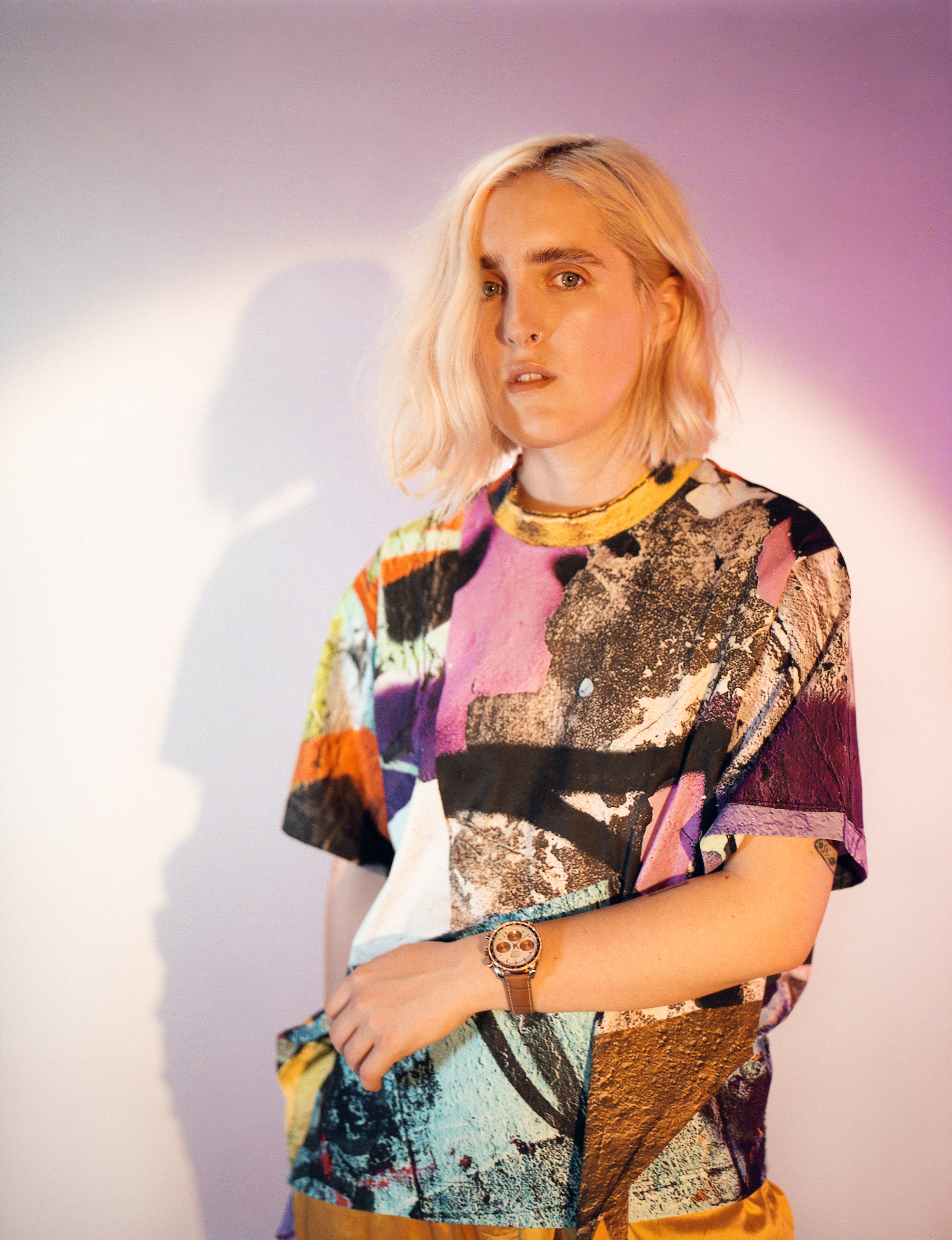 Singer Shura in the Omega Zine in the Summer 19 issue of Wonderland t-shirt