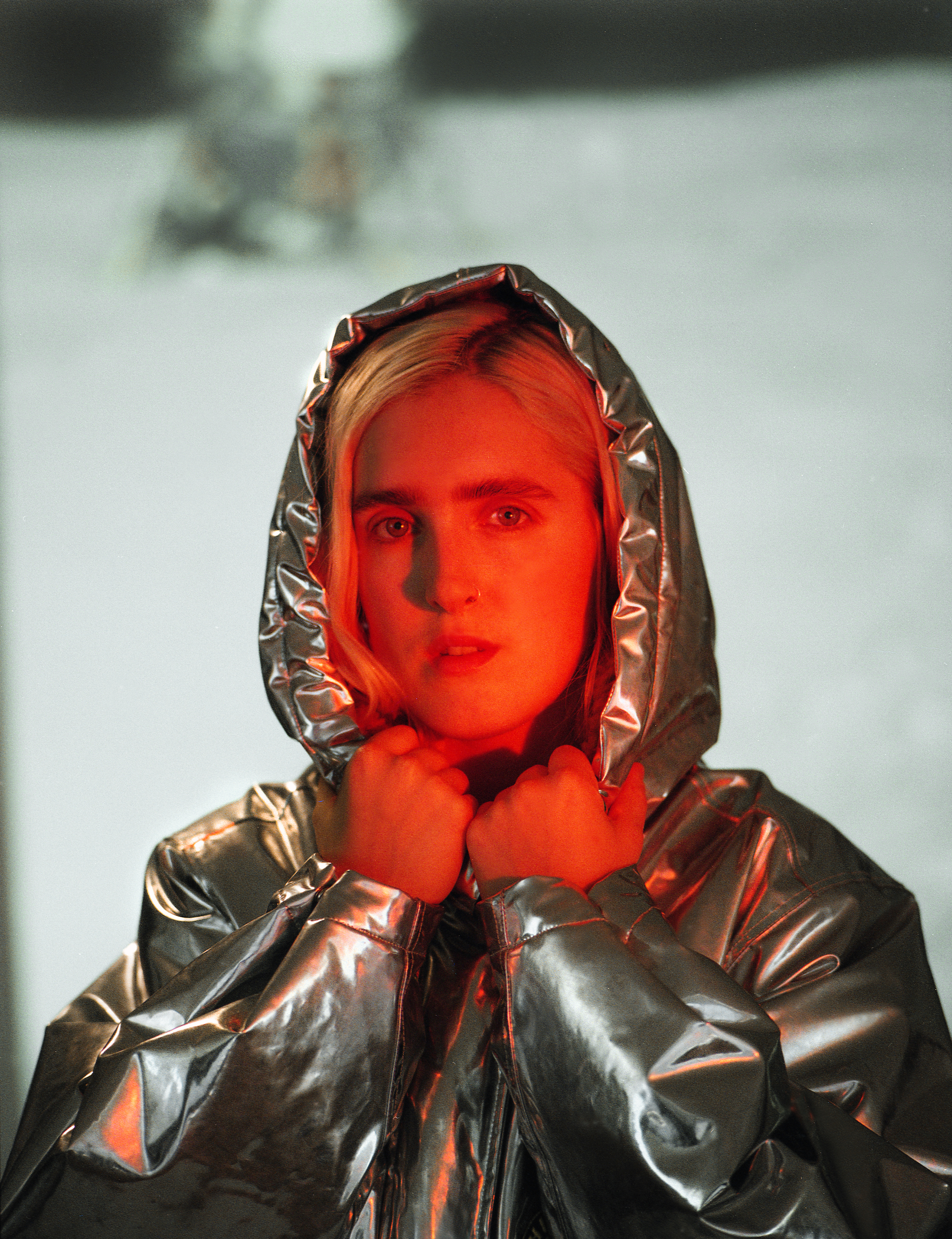 Singer Shura in the Omega Zine in the Summer 19 issue of Wonderland metallic puffer