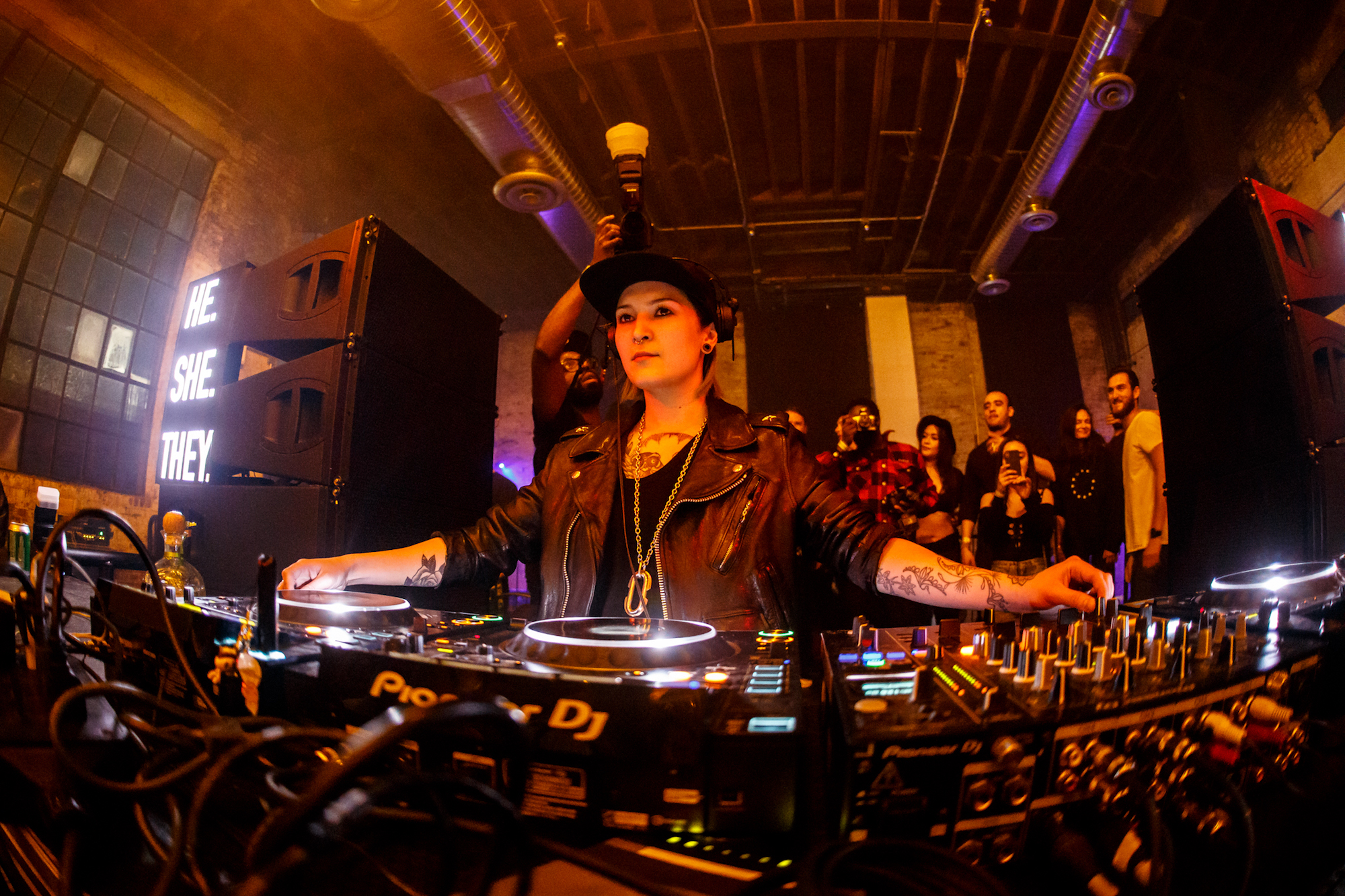DJ Maya Janes Cole at a He.She.They event