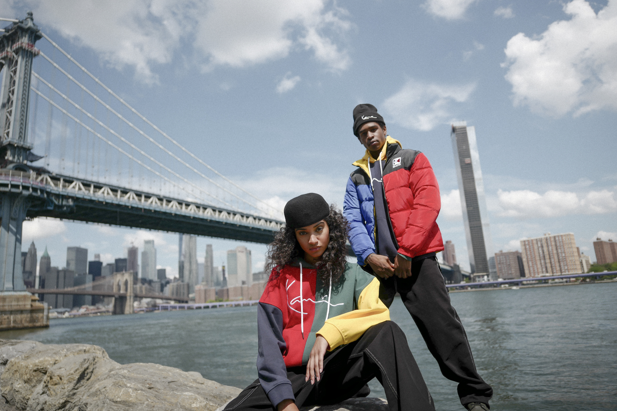 Karl Kani Fall/Winter campaign puffer jacket couple