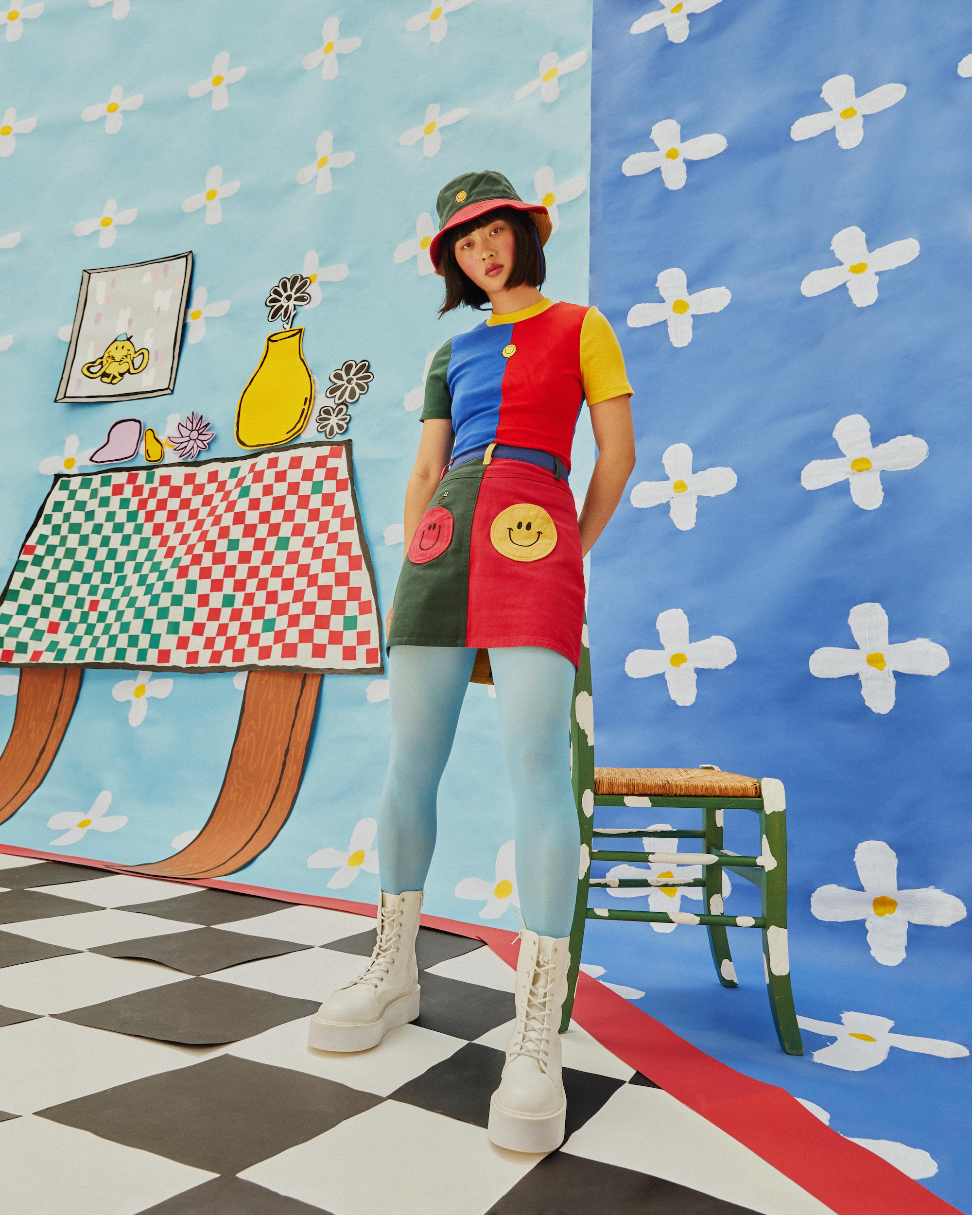 Wonderland Lazy Oaf x Mr. Men collaboration denim skirt