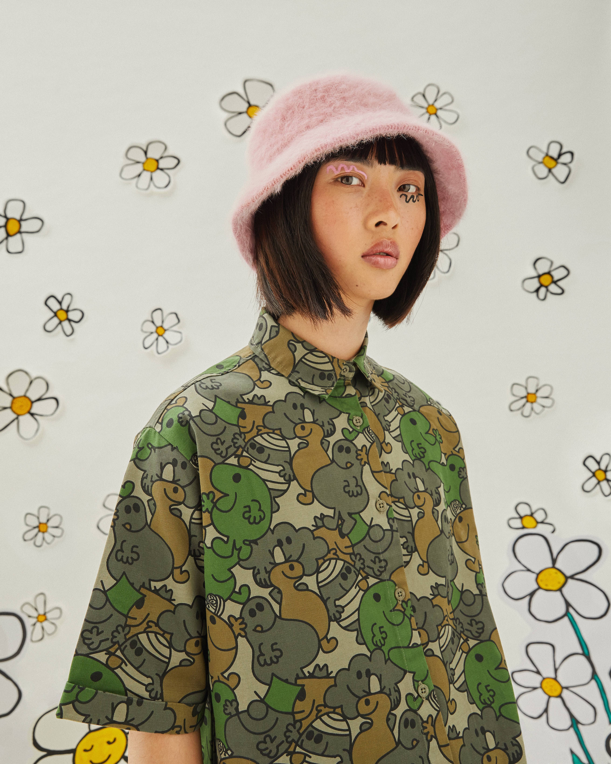 Wonderland Lazy Oaf x Mr. Men collaboration pink bucket hat