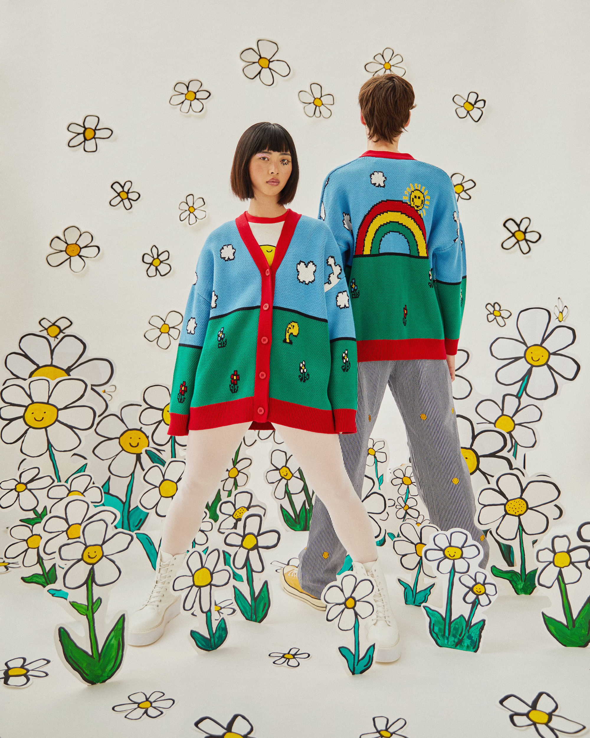 Wonderland Lazy Oaf x Mr. Men collaboration cardigan
