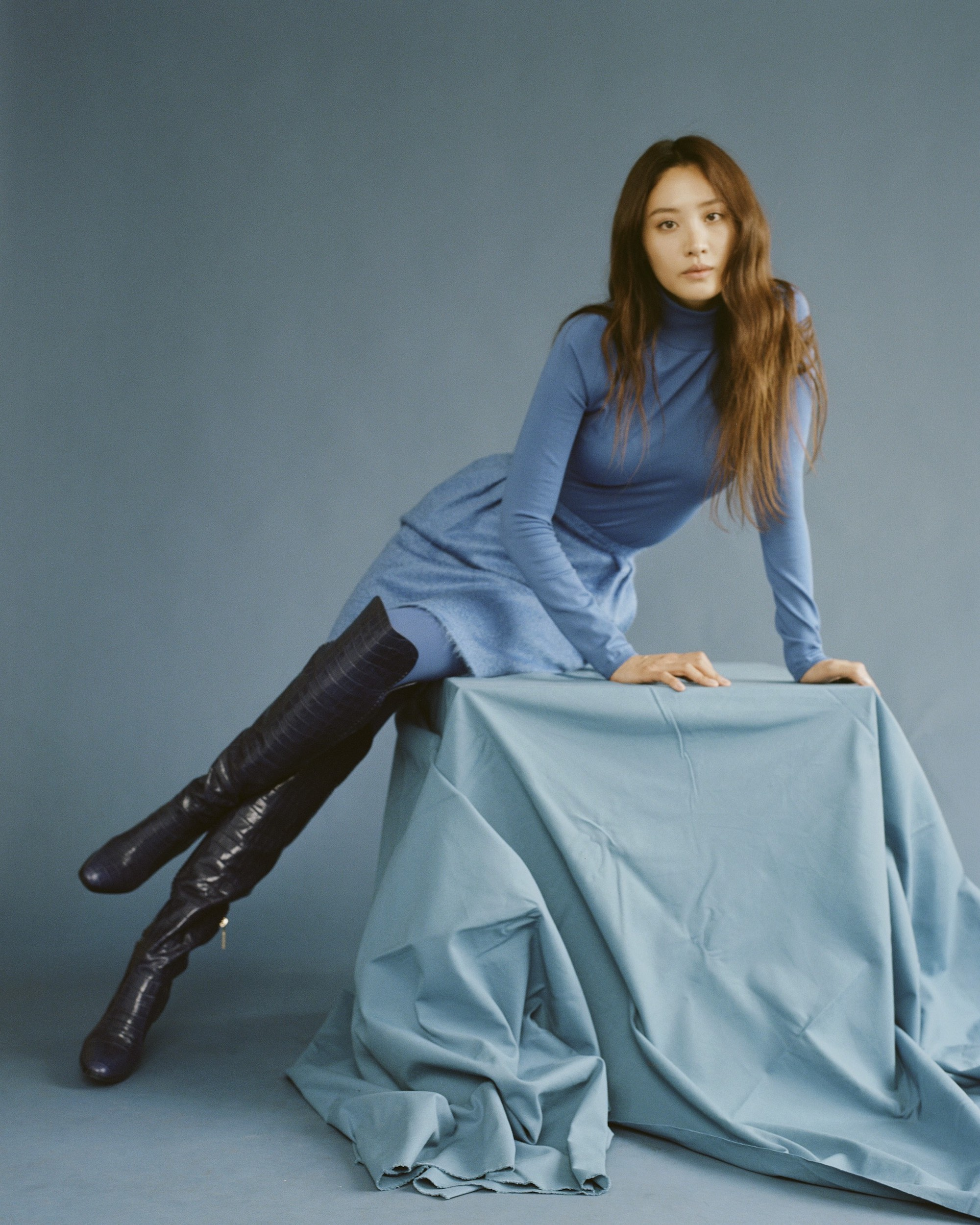 Claudia Kim for Wonderland Autumn 19 issue blue dress