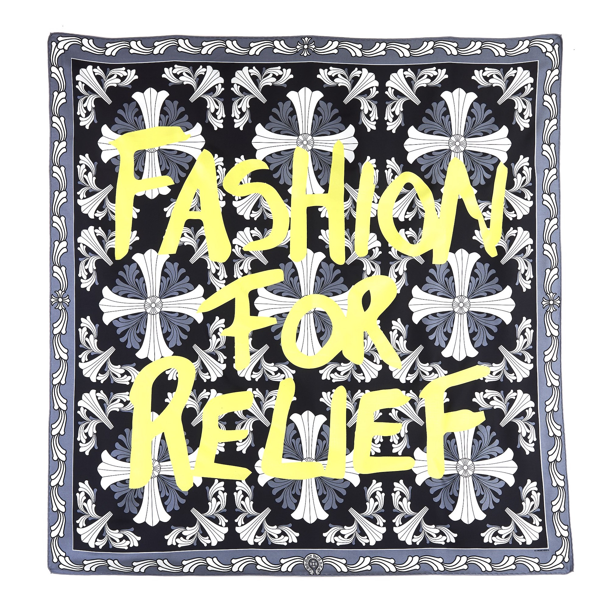 Chrome Hearts have teamed up with Naomi Campbell's Fashion For Relief yellow scarf