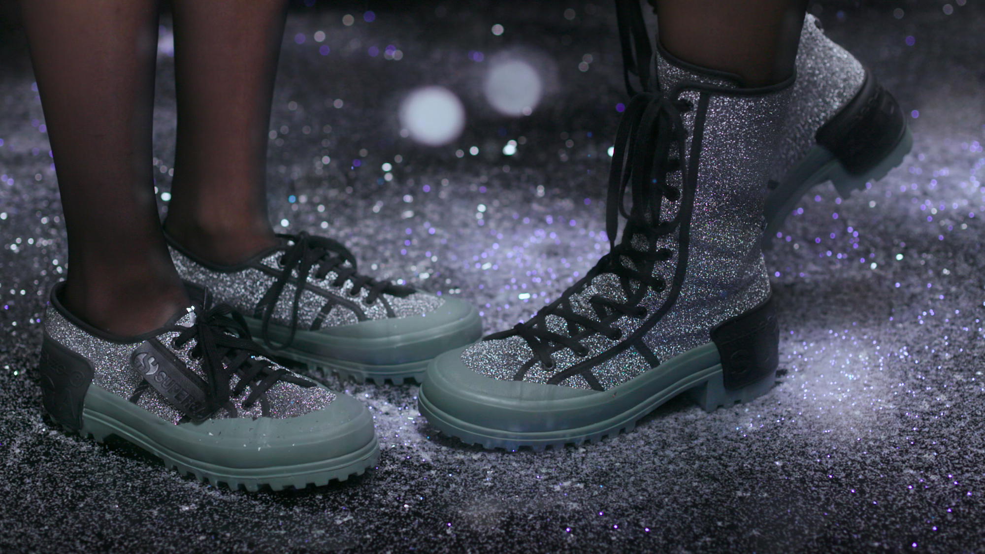 Superga x Marco de Vincenzo collection green glitter boots