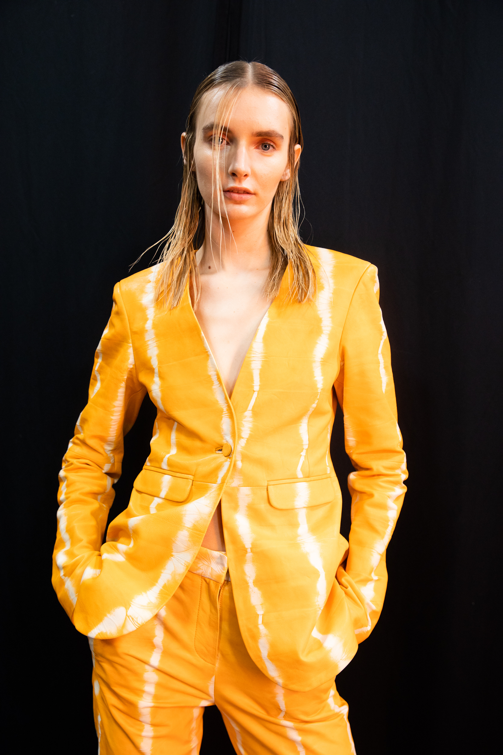 Sally LaPointe NYFW SS20 orange tie dye suit