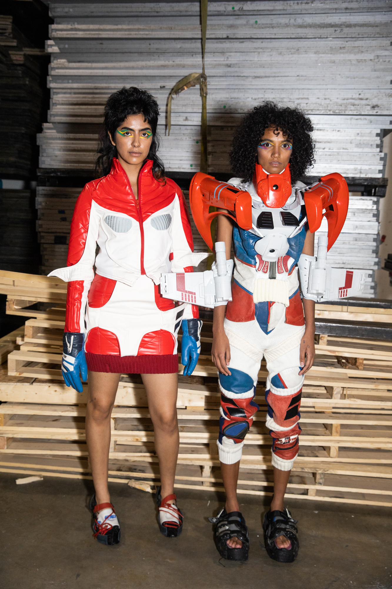 Pierre-Louis Auvray NYFW SS20 two models spacesuit