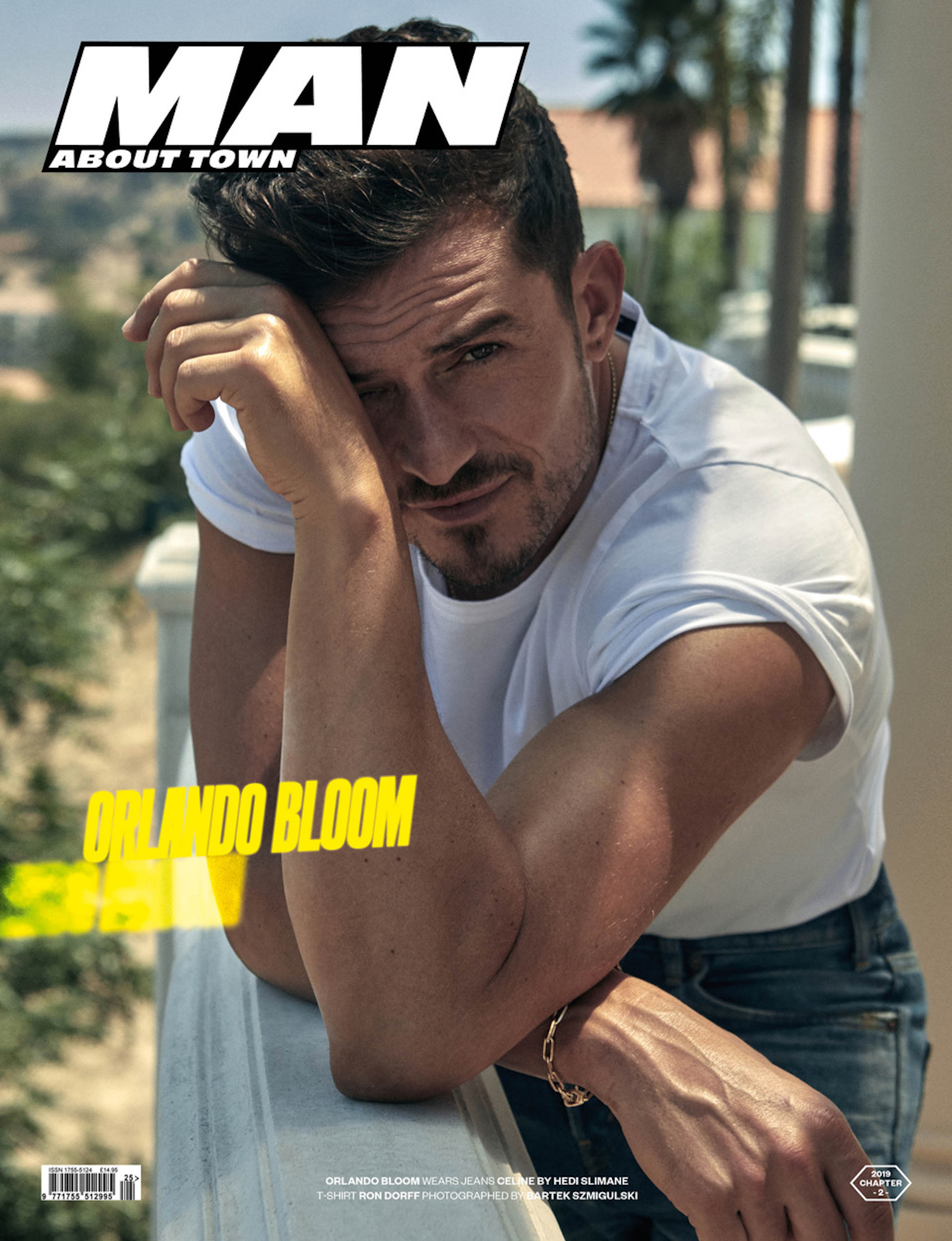 Orlando Bloom on the cover of Man About Town: Chapter II logo