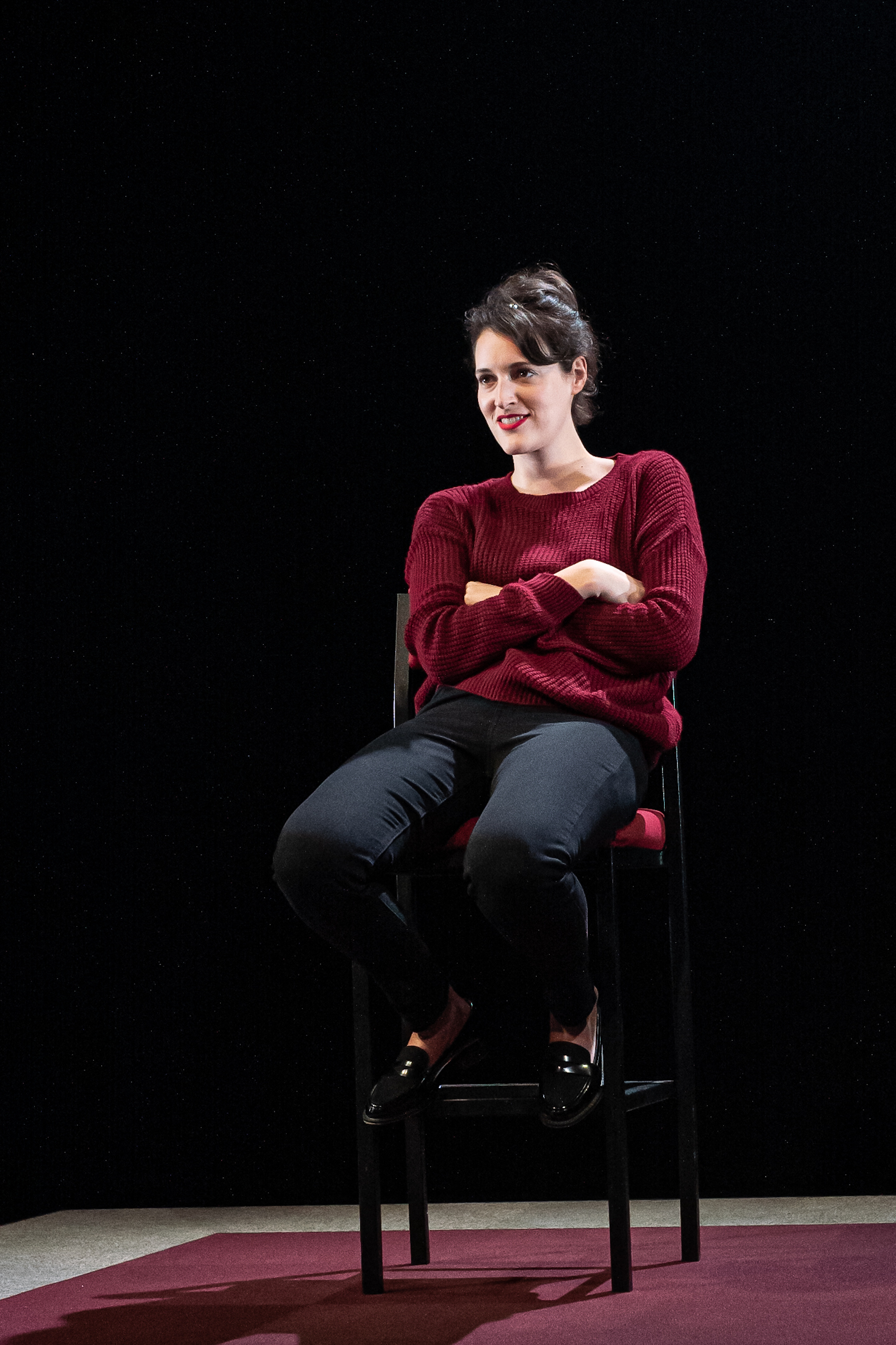 Phoebe Waller-Bridge in London theatre play of Fleabag arms crossed