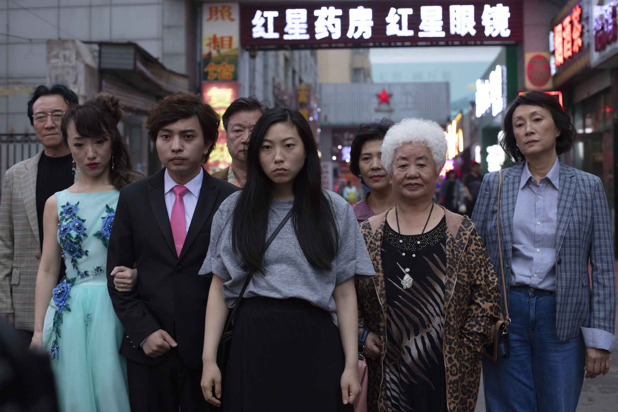 Ensemble cast in The Farewell with Awkwafina