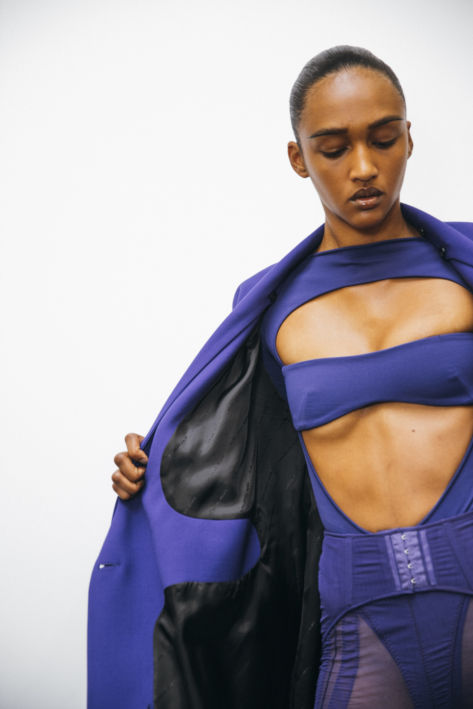 Mugler SS20 at Paris Fashion Week purple top