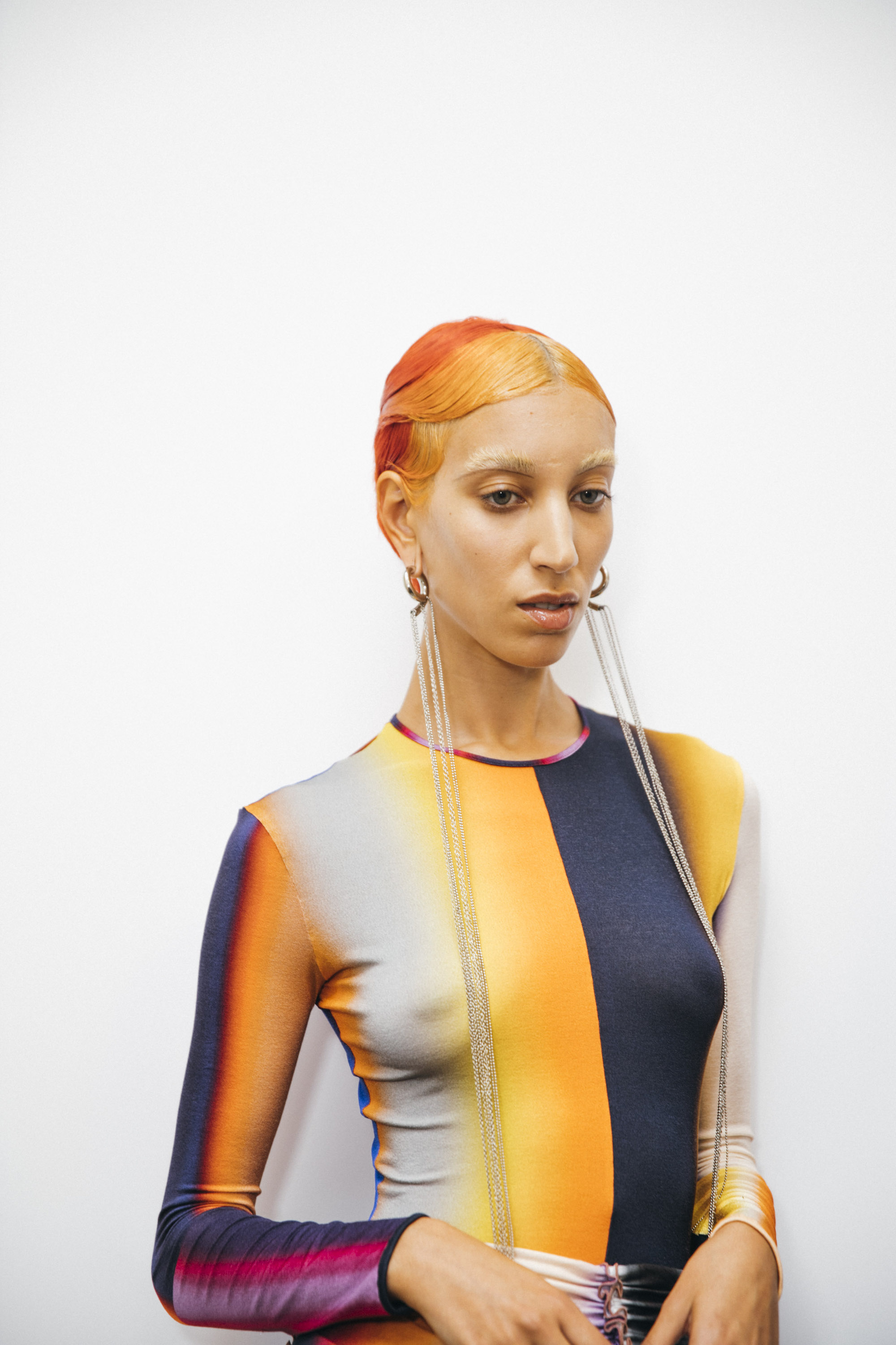 Mugler SS20 at Paris Fashion Week orange hair