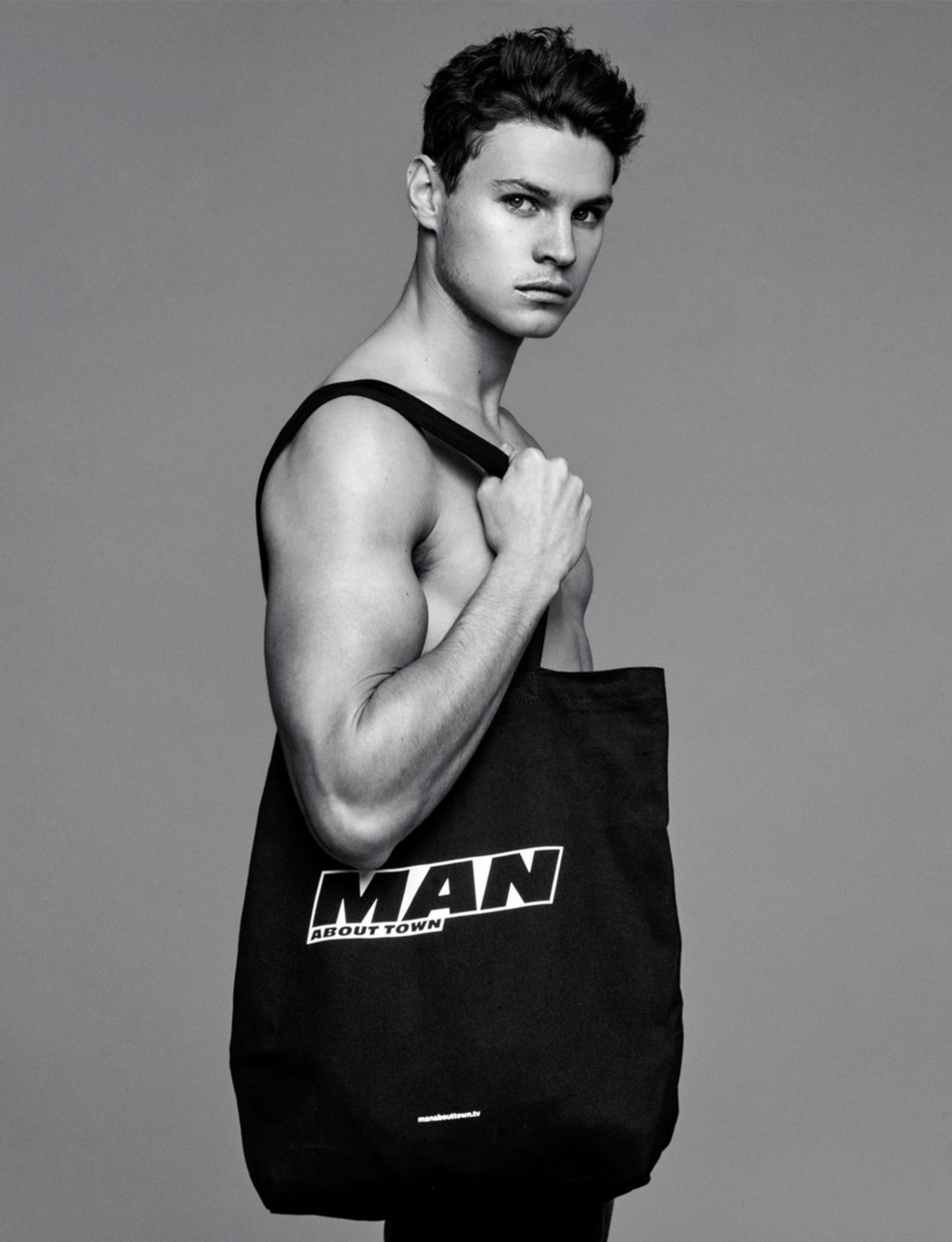 Man About Town tote bag with model