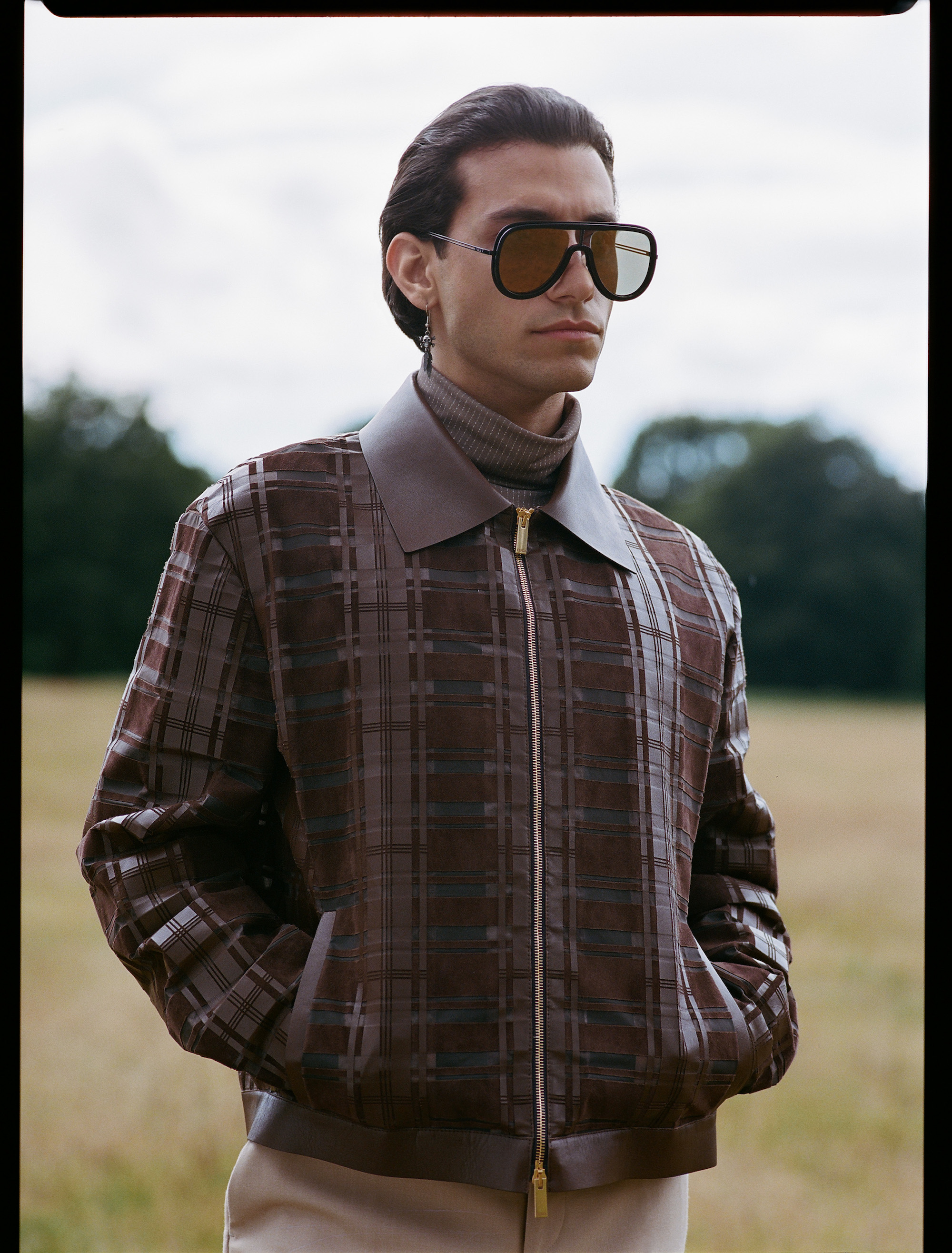 Rob Raco stars in Fendi's AW19 men's eyewear collection zip up