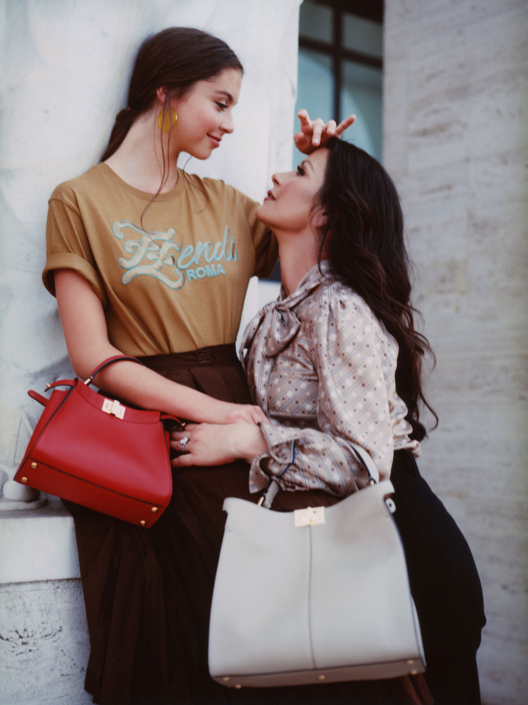 Catherine Zeta-Jones and daughter Carys for Me And My Peekaboo campaign red bag