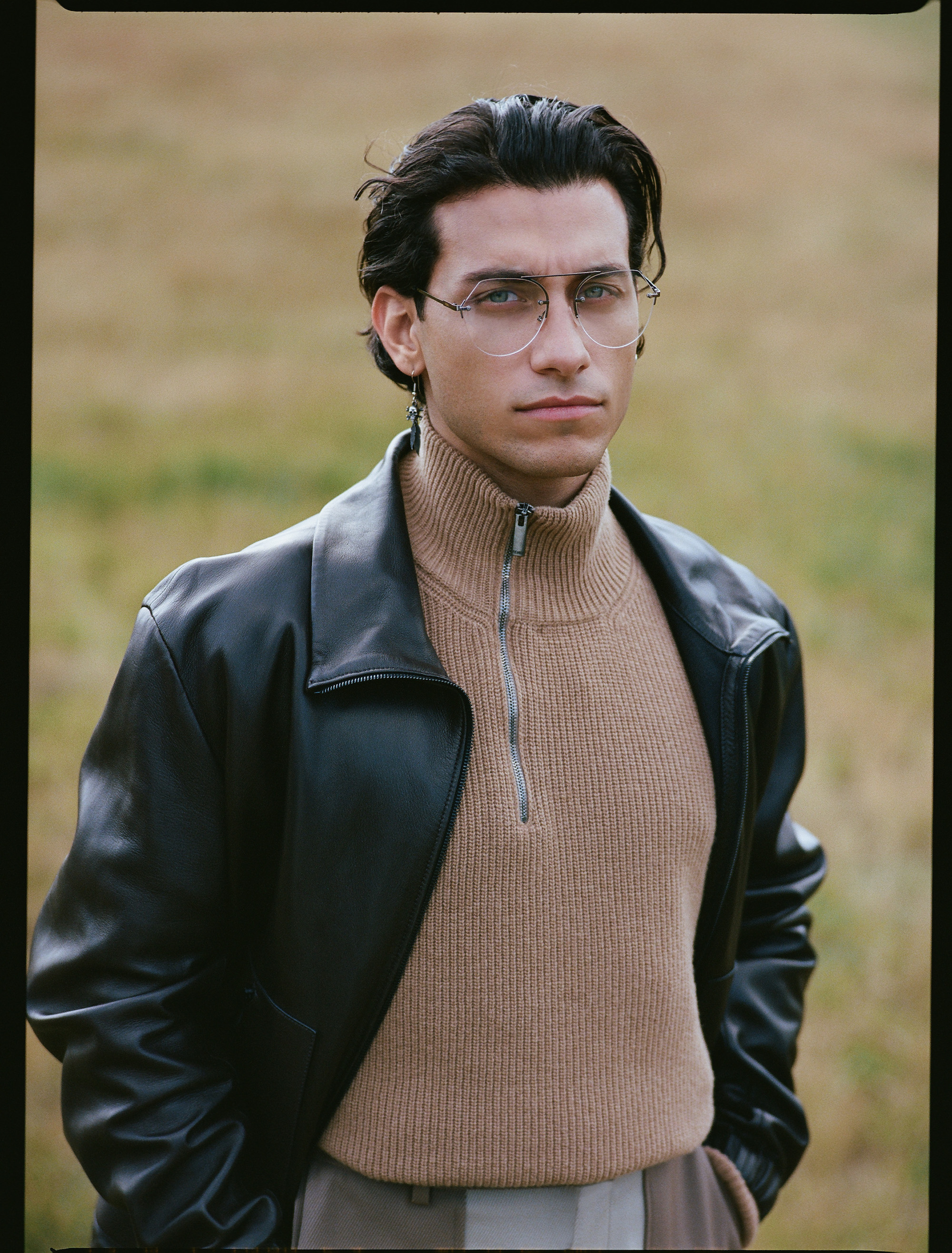 Rob Raco stars in Fendi's AW19 men's eyewear collection leather jacket