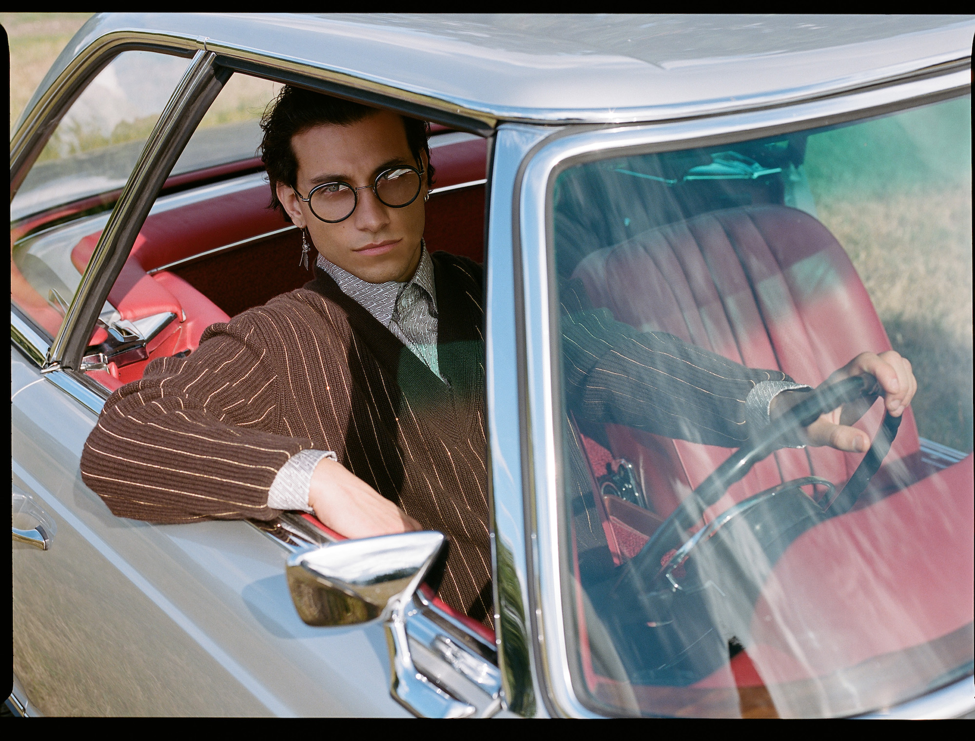 Rob Raco stars in Fendi's AW19 men's eyewear collection car front