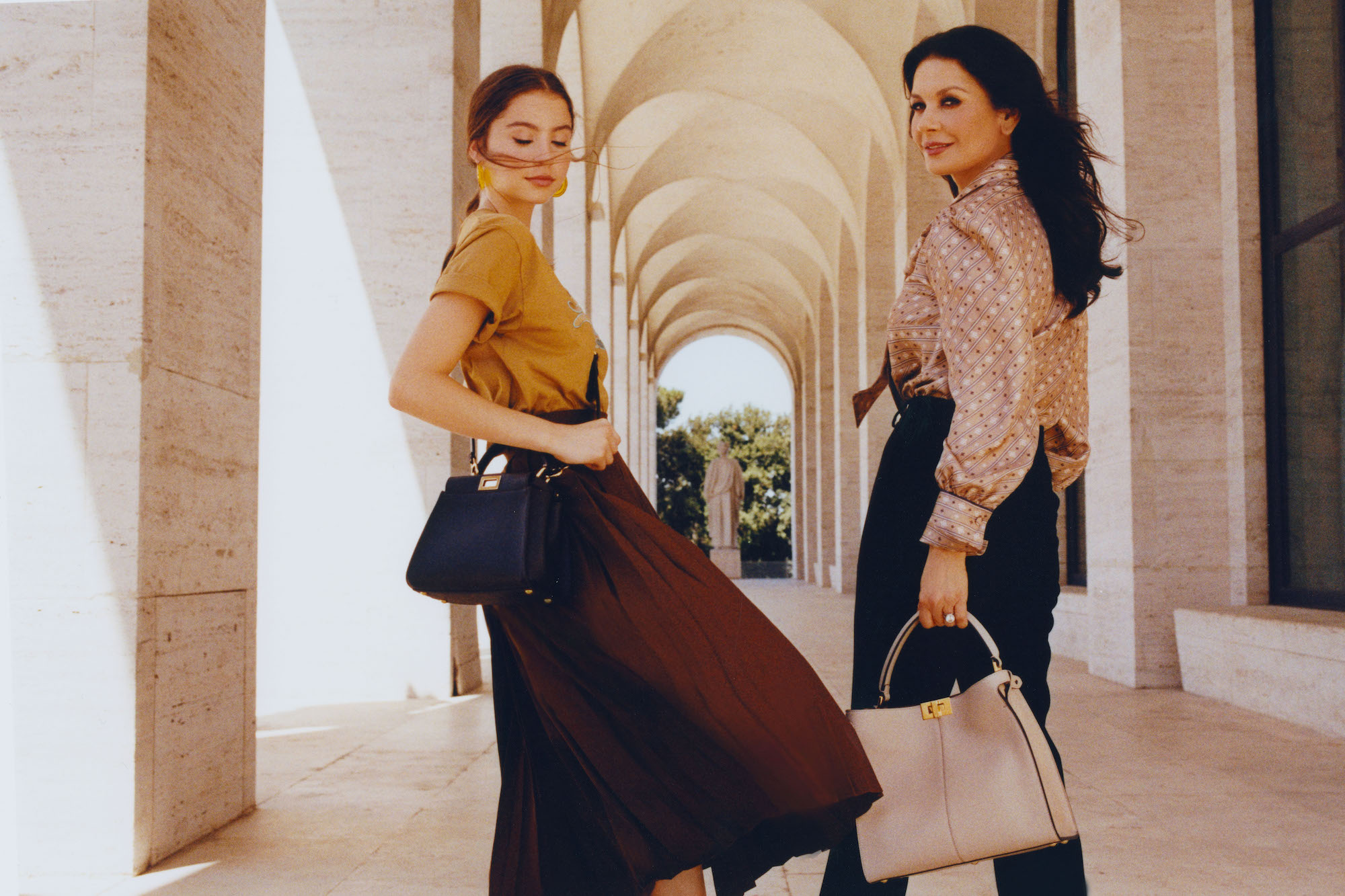 Catherine Zeta-Jones and daughter Carys for Me And My Peekaboo campaign beige bag