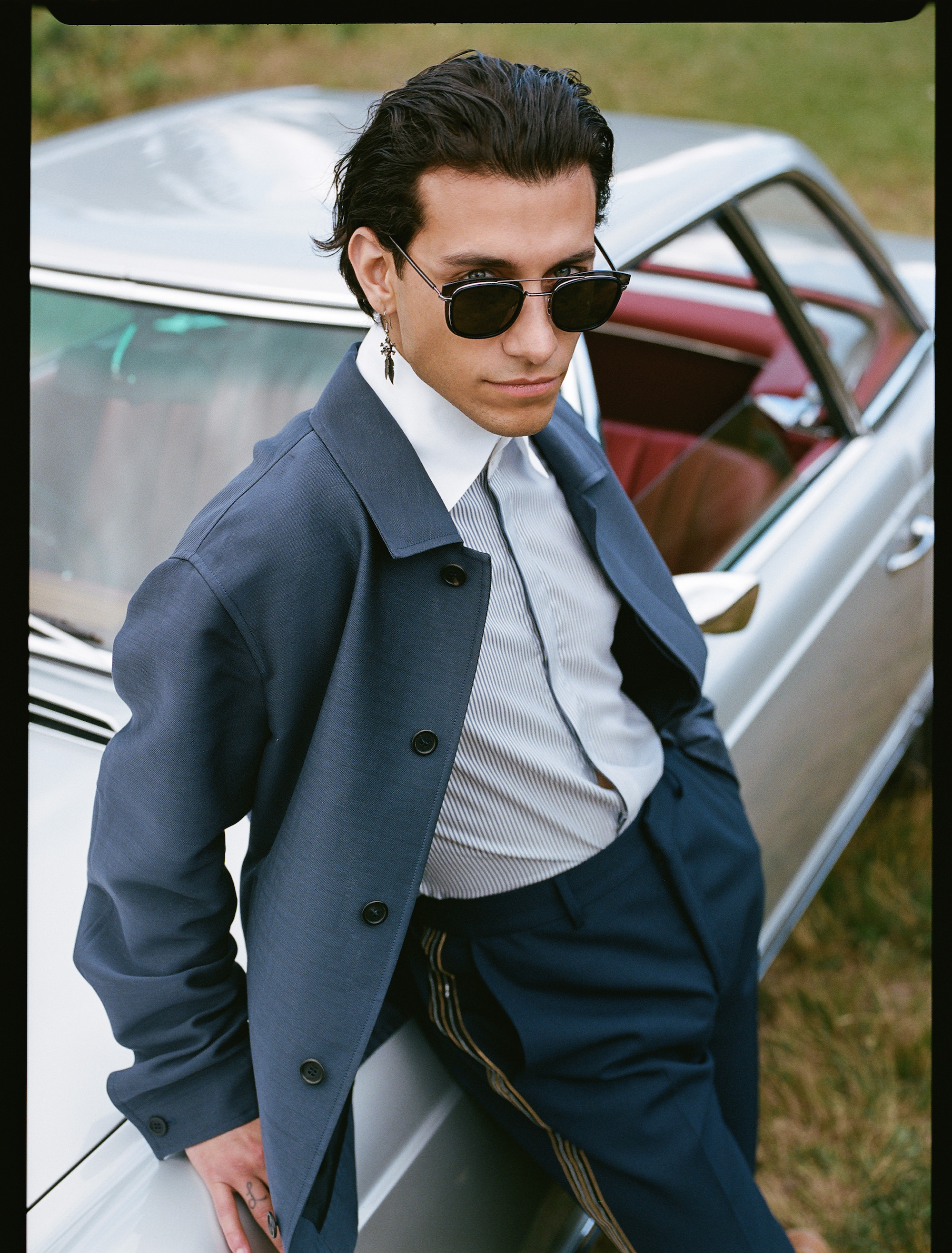 Rob Raco stars in Fendi's AW19 men's eyewear collection suit