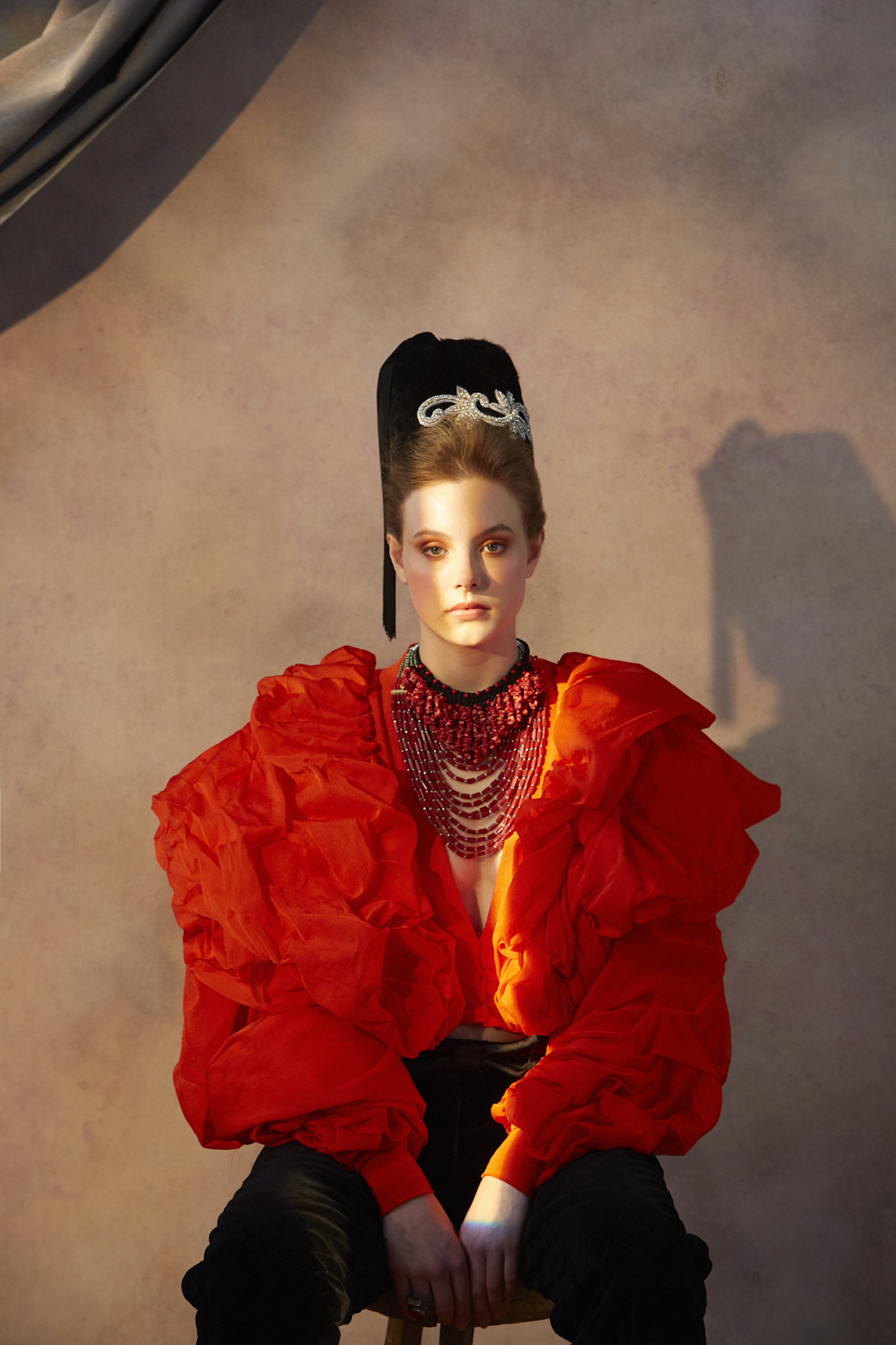 Another era fashion editorial red coat