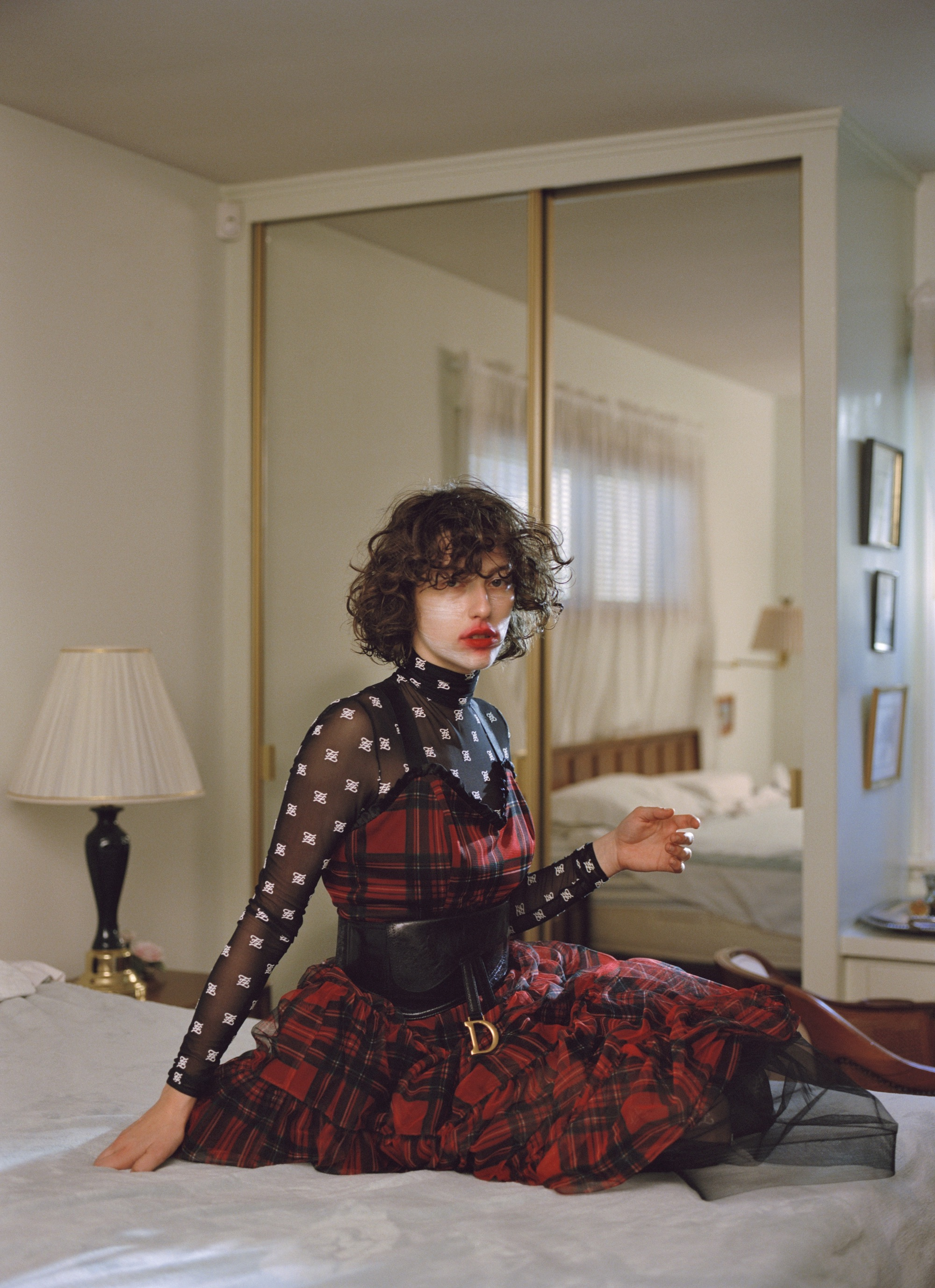 King Princess for the Autumn 19 issue of Wonderland tartan dress