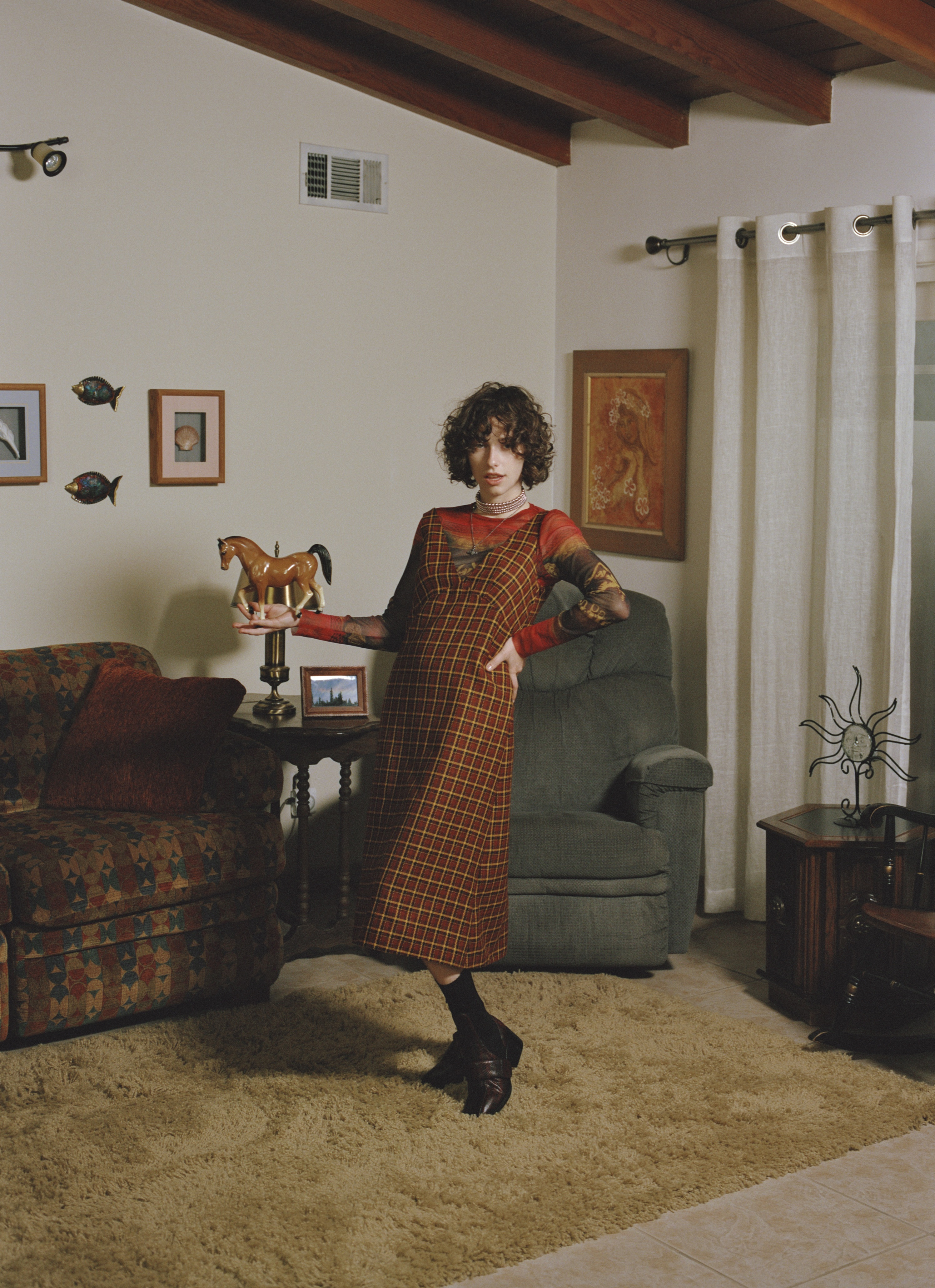 King Princess for the Autumn 19 issue of Wonderland check dress