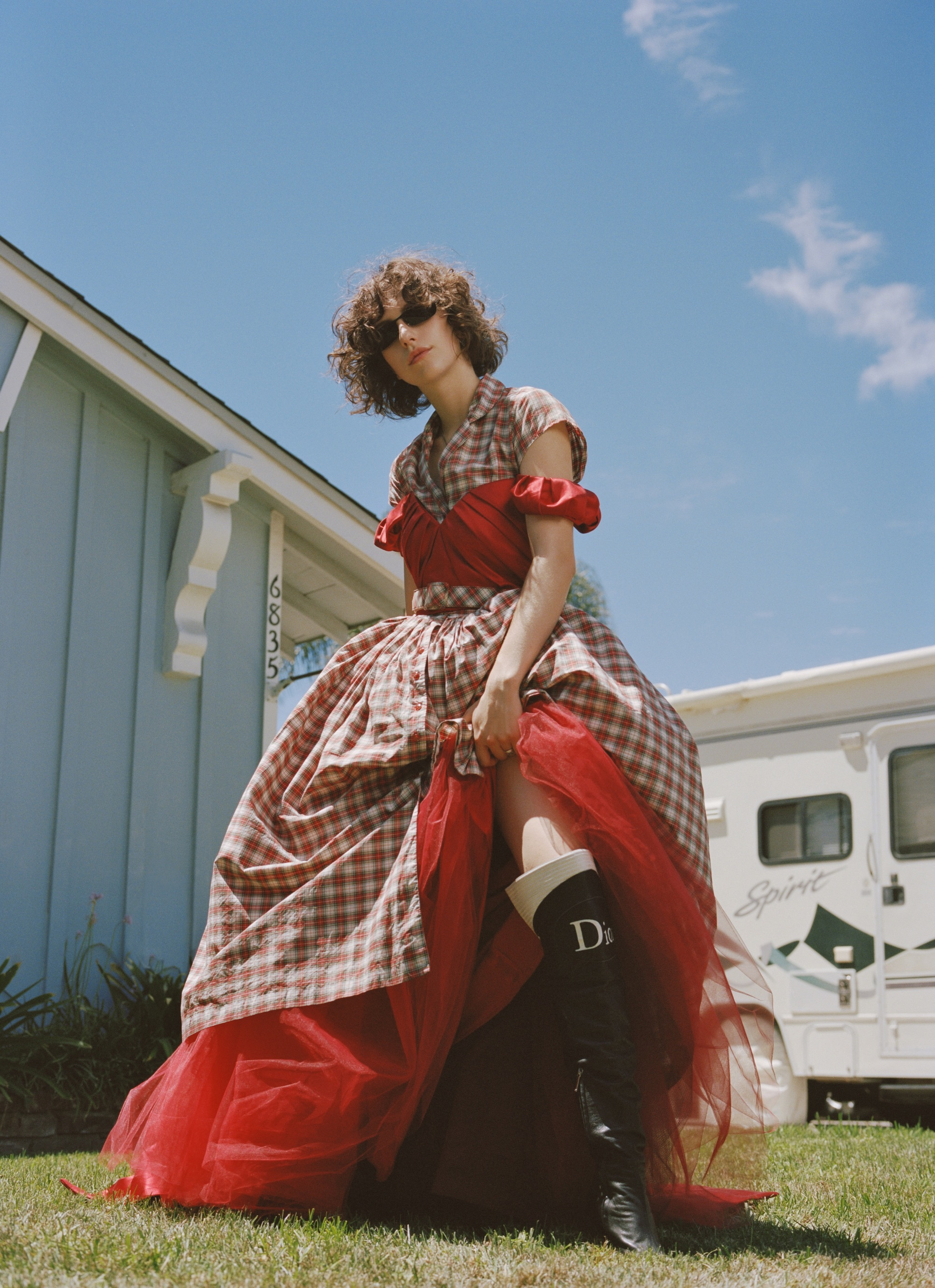 King Princess for the Autumn 19 issue of Wonderland red dress