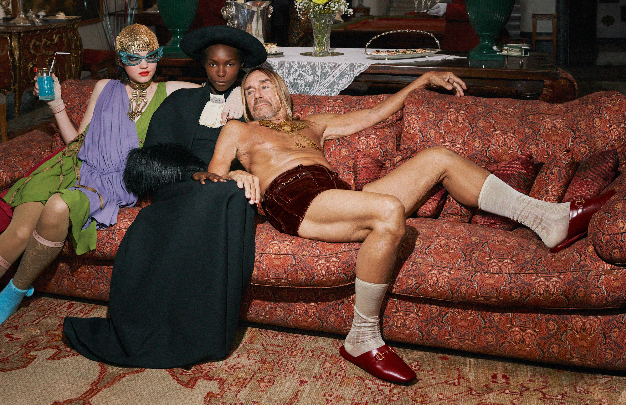 Wonderland Gucci 2020 campaign Iggy Pop sofa