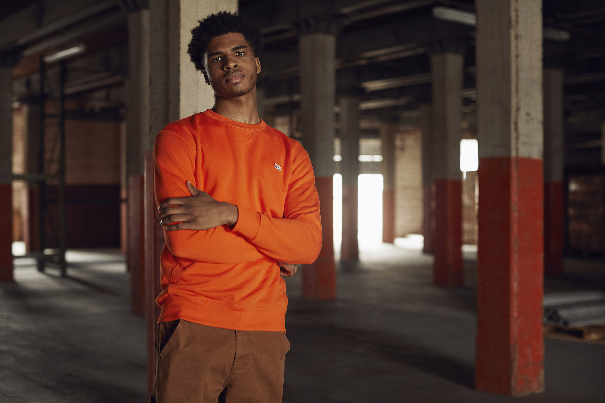 Lee Jeans campaign Created in Kansas orange top
