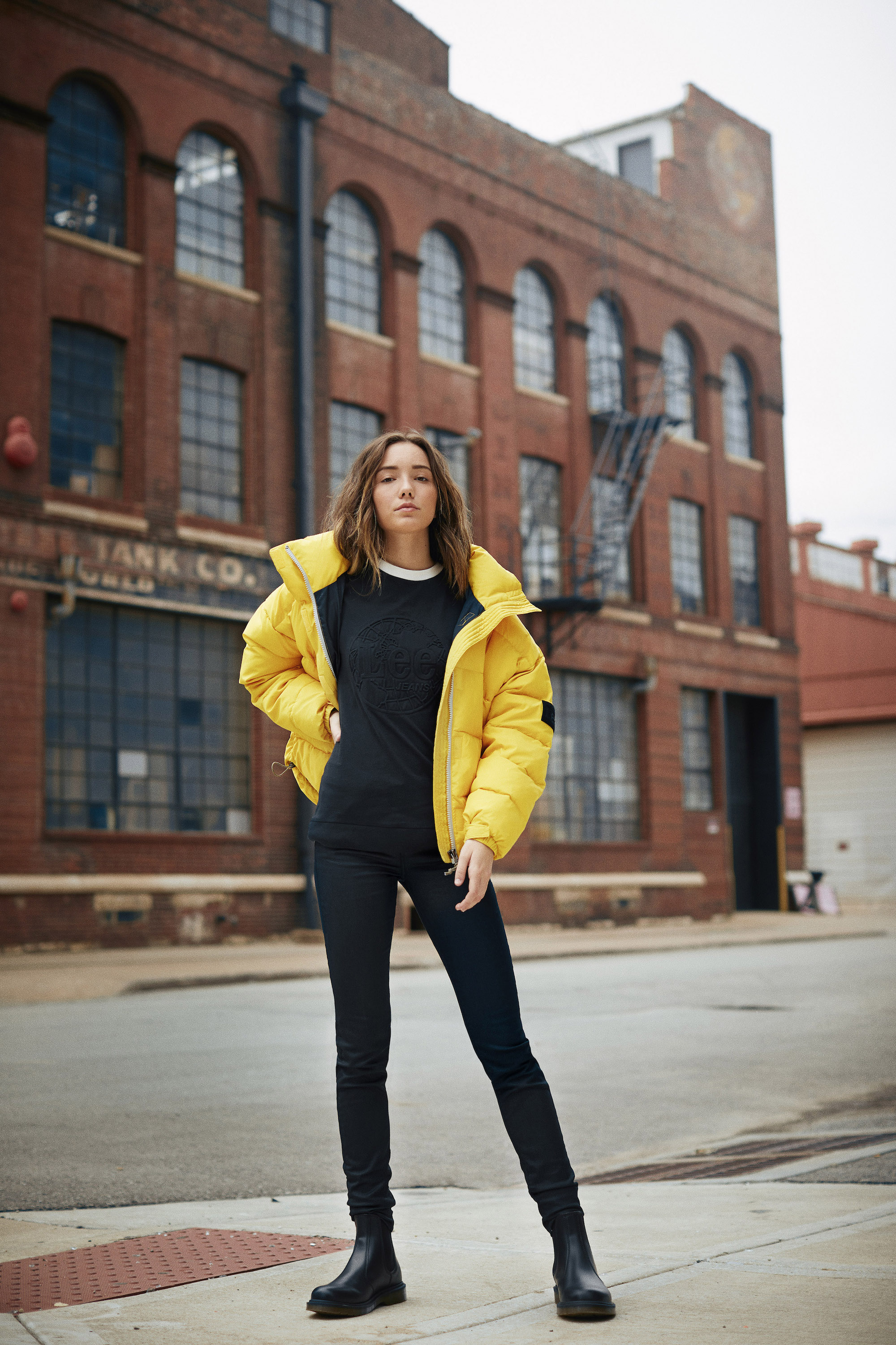 Lee Jeans campaign Created in Kansas yellow puffer