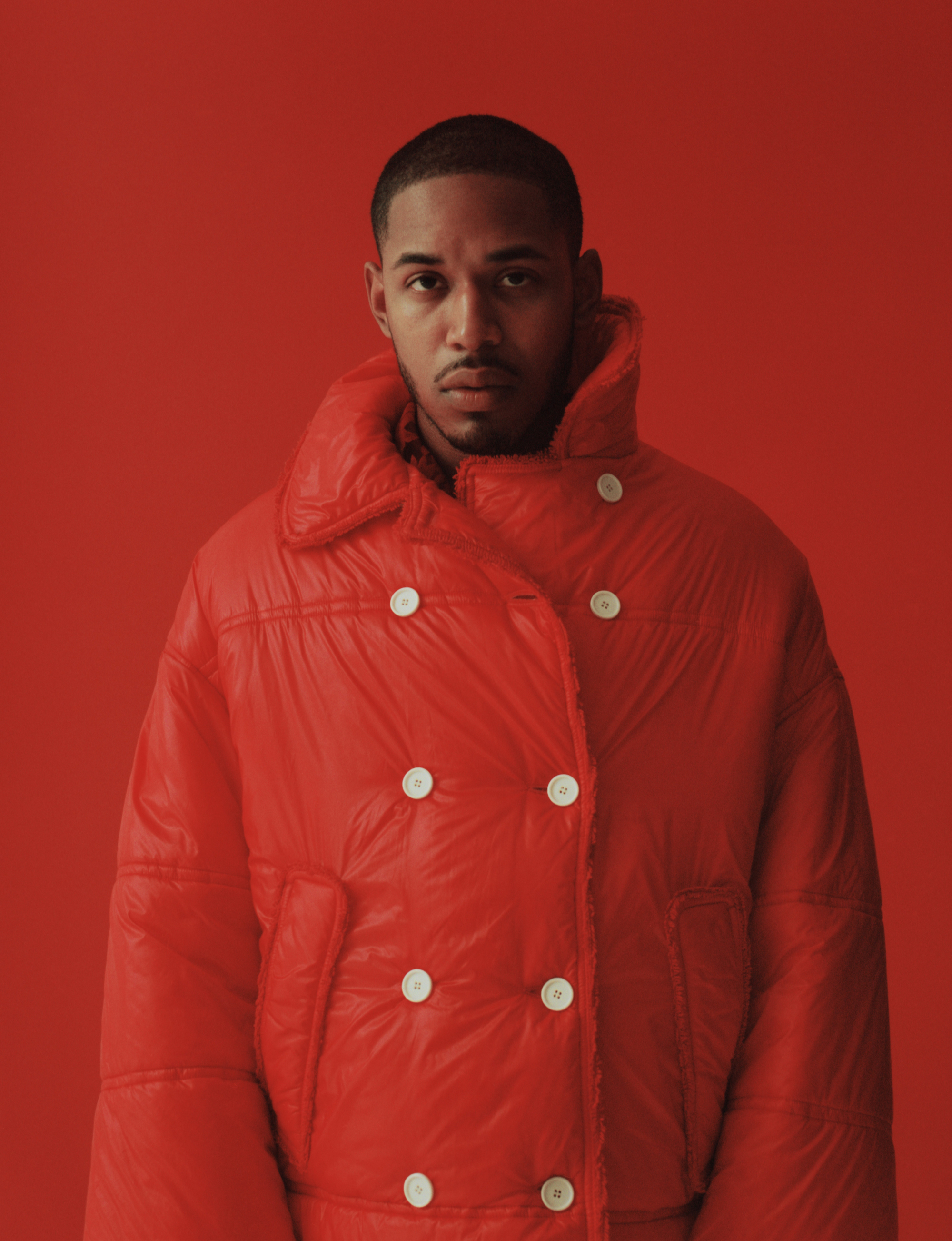 Kelvin Harrison Jr. in the Autumn 19 issue of Wonderland red coat