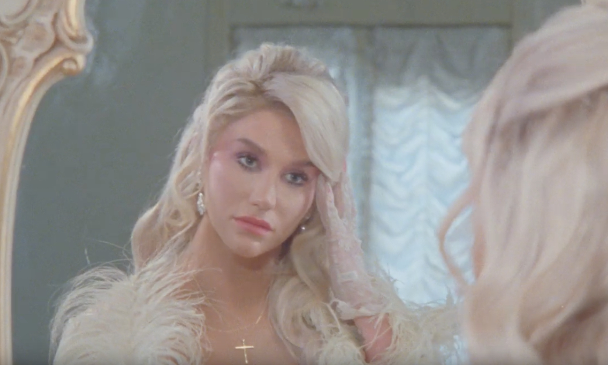 Kesha Raising Hell Mirror Shot Feather Robe