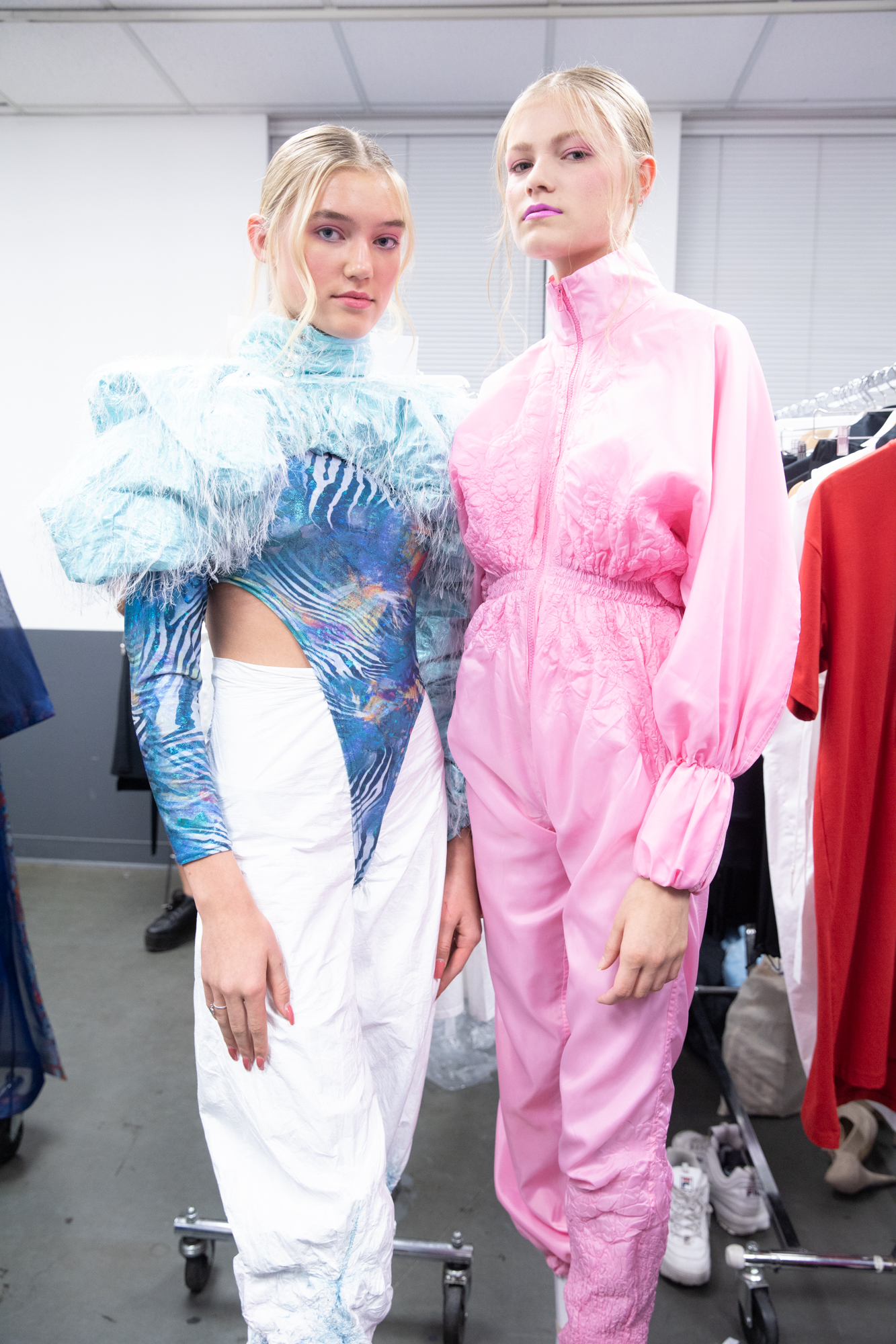 pastel pink and blue vancouver fashion week backstage