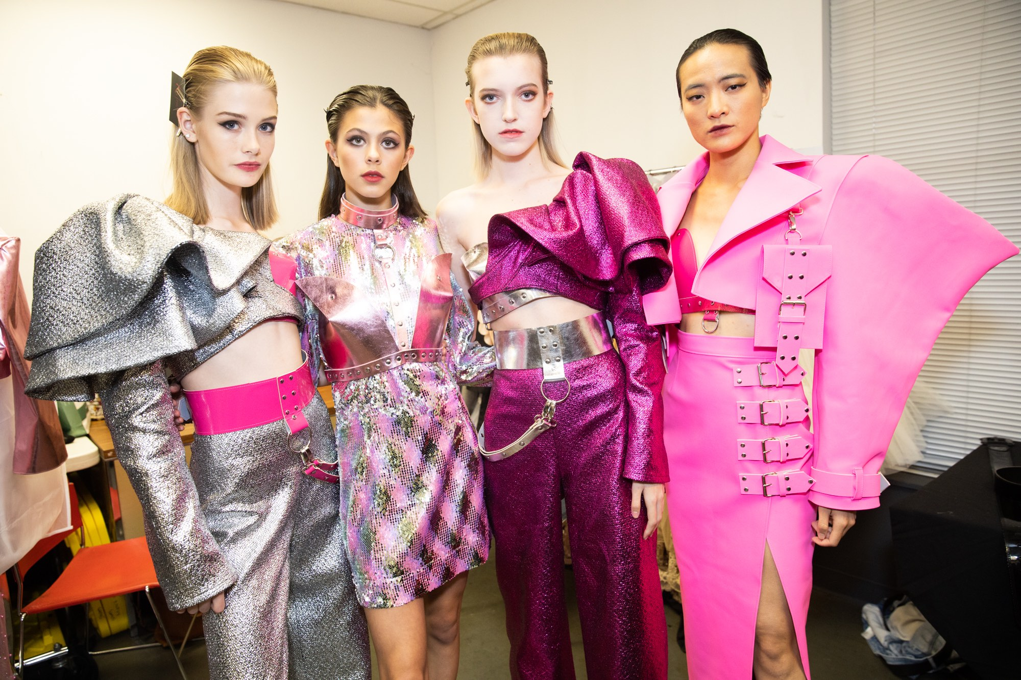 vancouver fashion week backstage hot pink looks