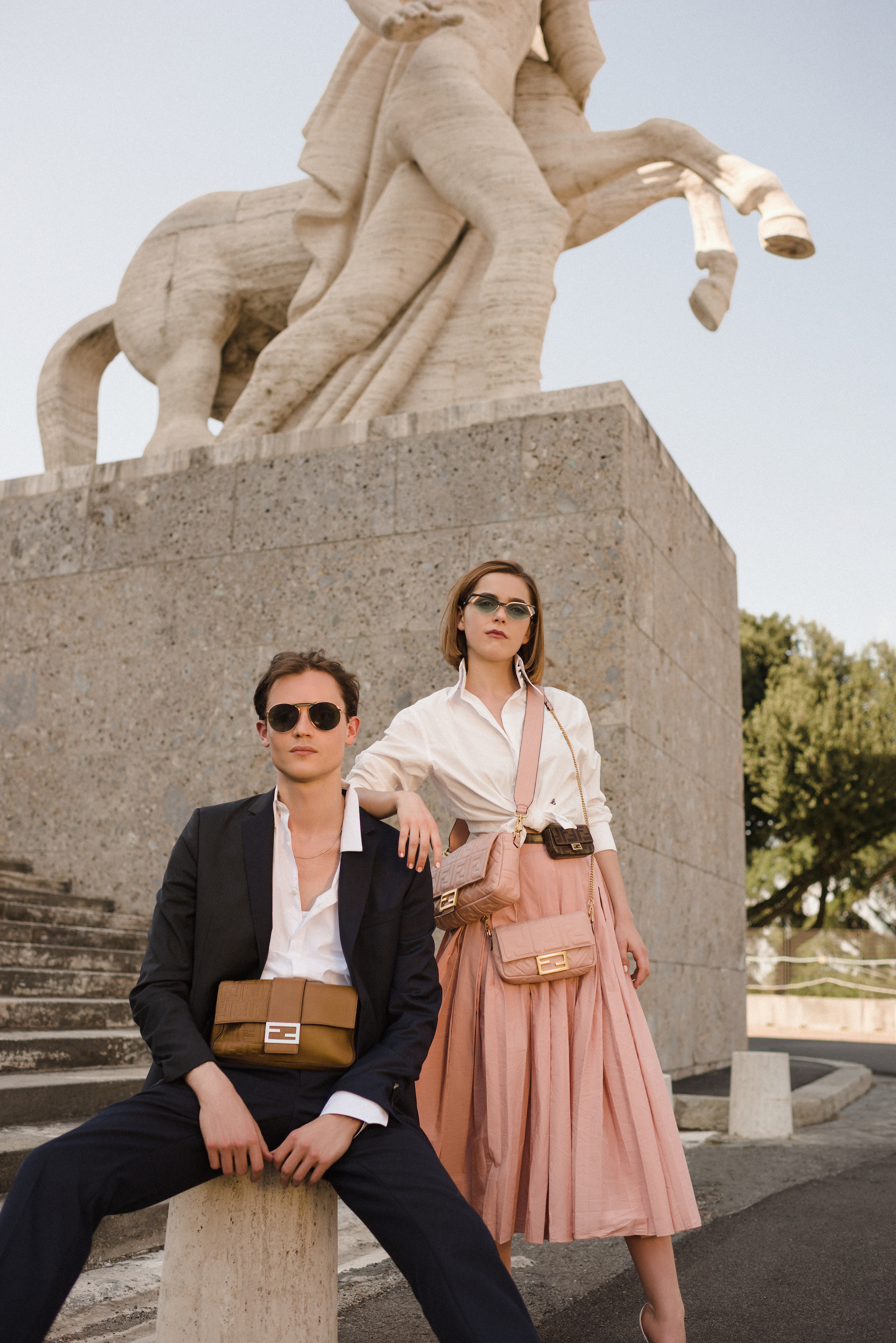 Christian Coppola Fendi Kiernan Shipka Rome Couple Statue