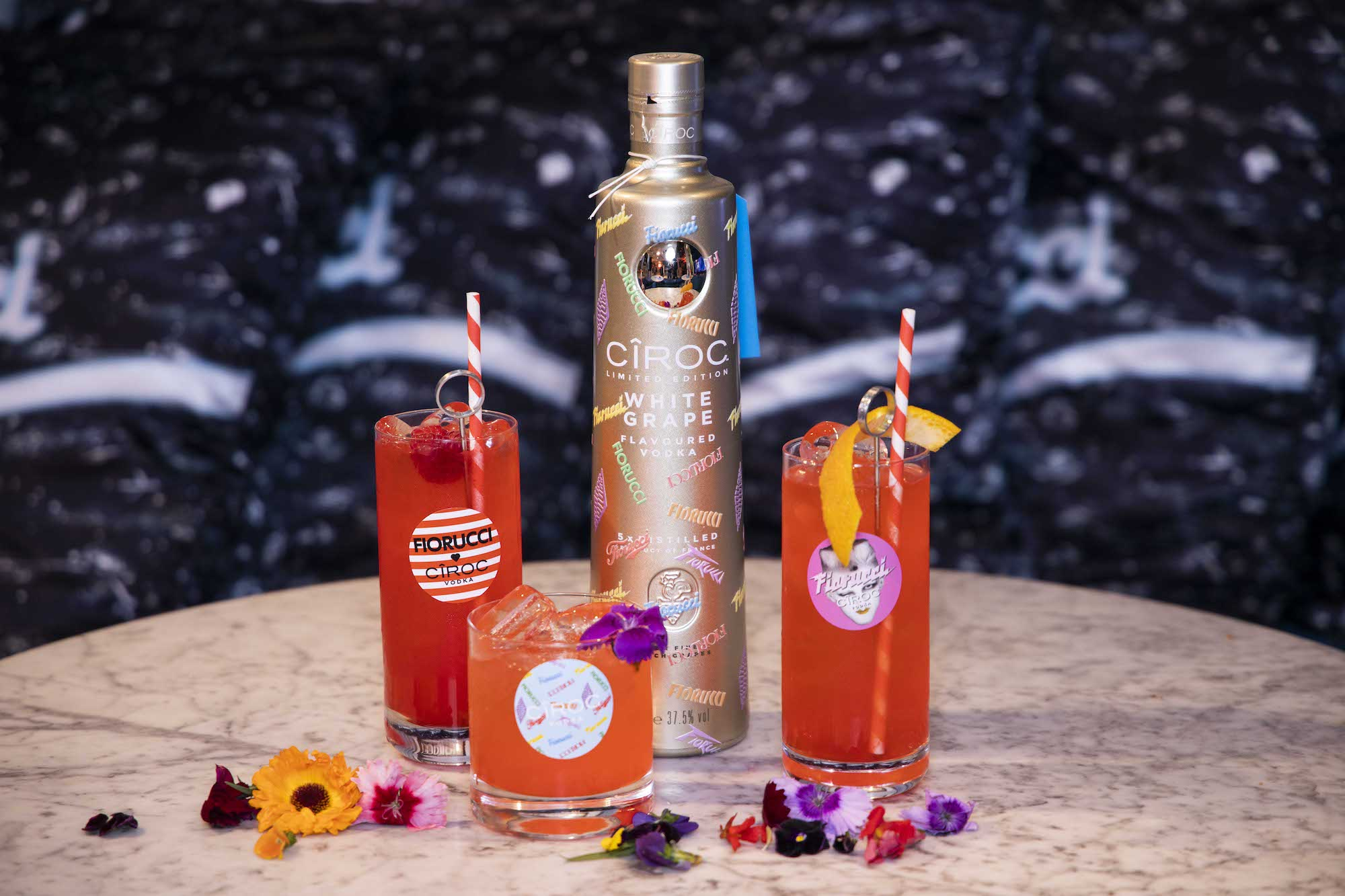 CIROC x FIORUCCI collaboration bottle and drinks