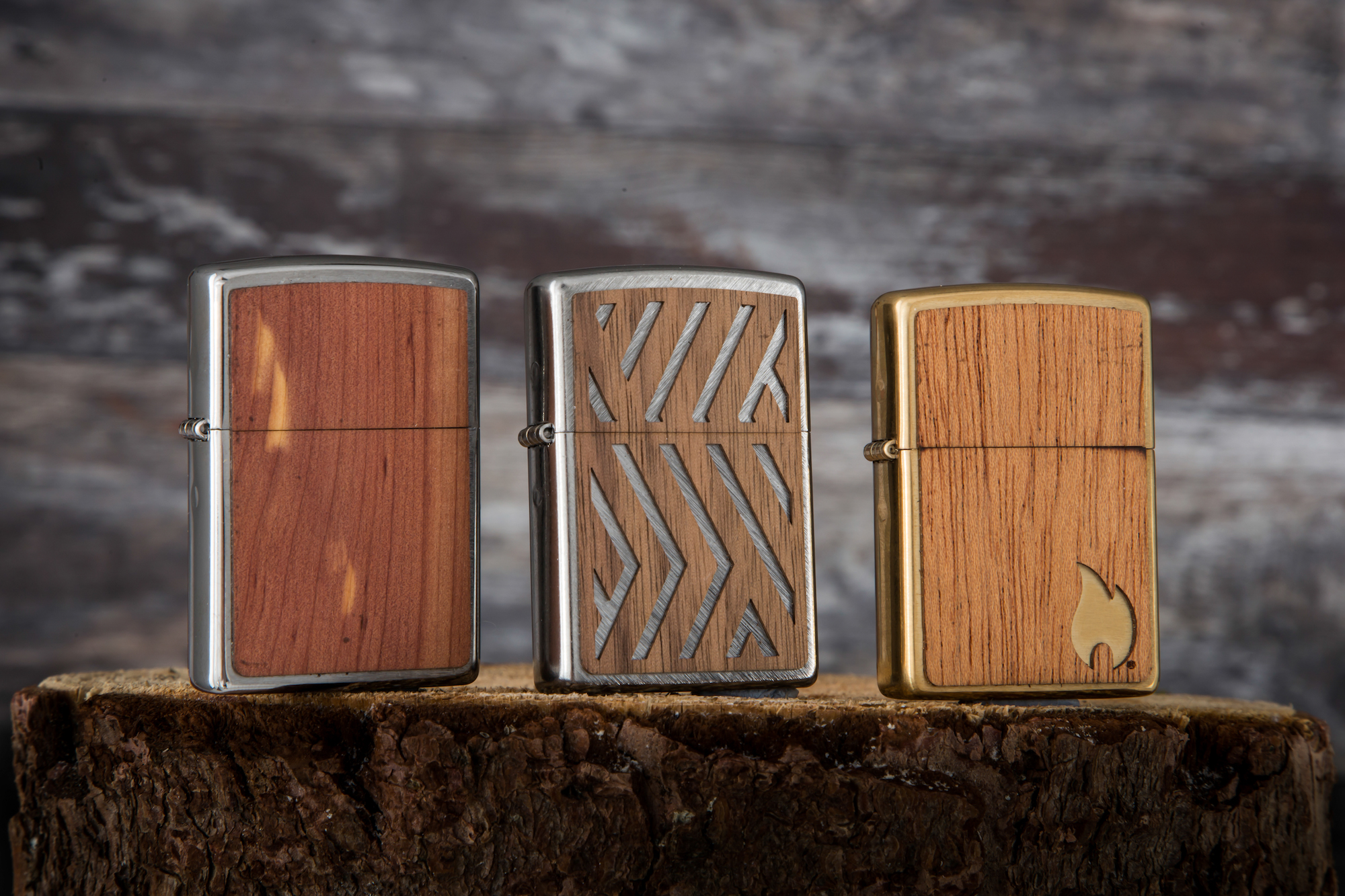 Zippo x WOODCHUCK USA close-up of row of lighters