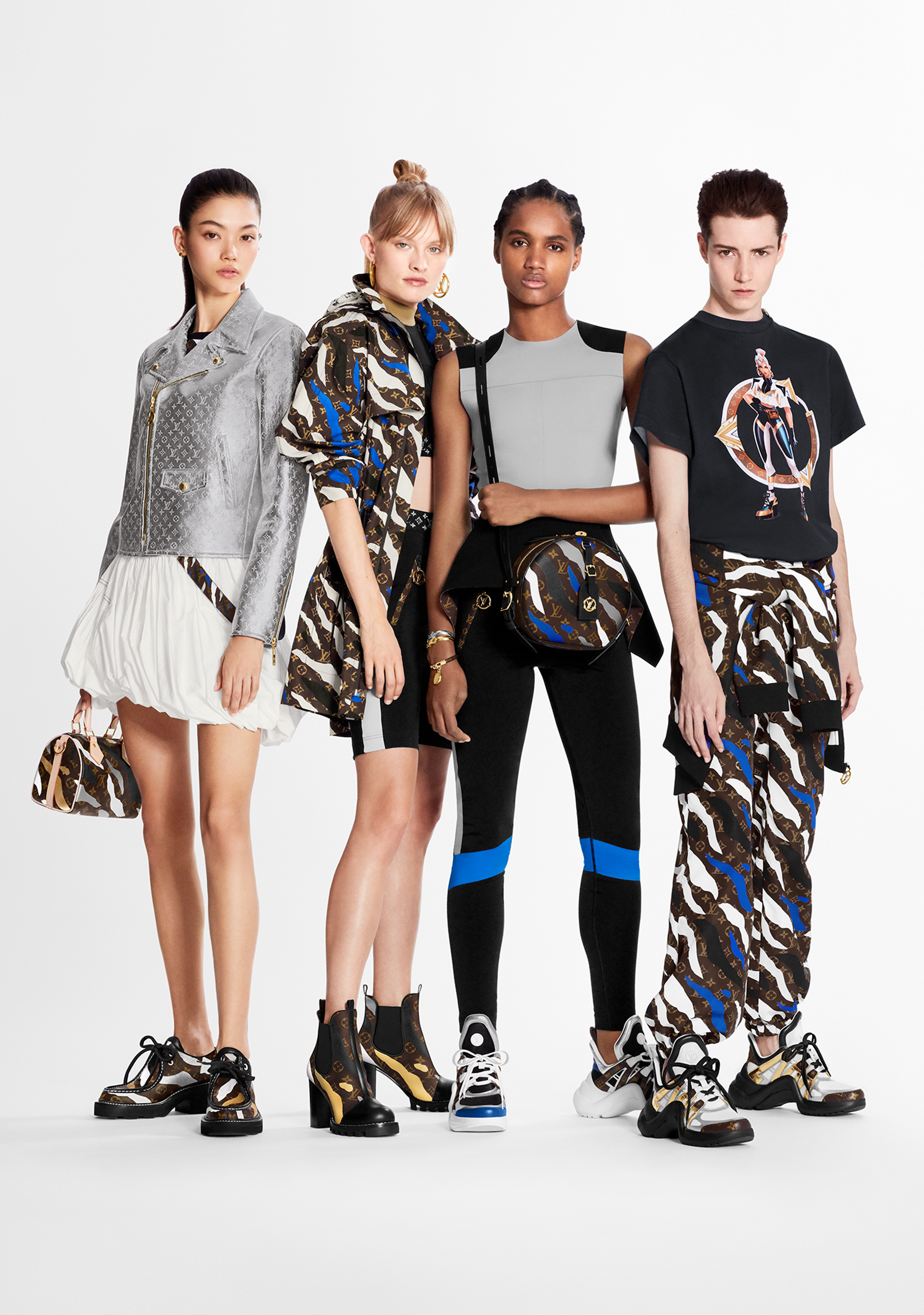 Louis Vuitton x League of Legends capsule collection group shot