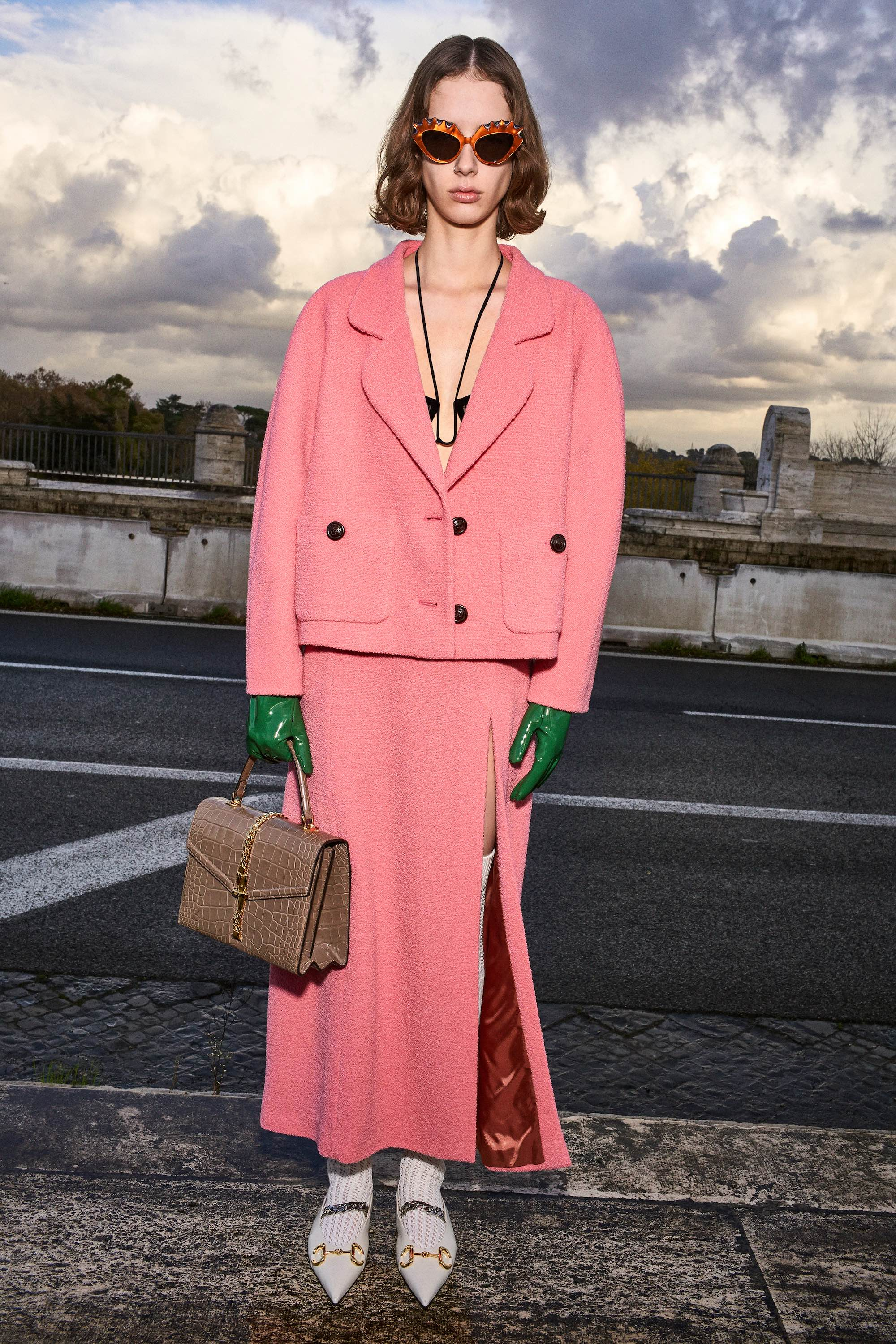 Gucci Pre Fall 2020 Lookbook shot by Bruce Gilden pink suits