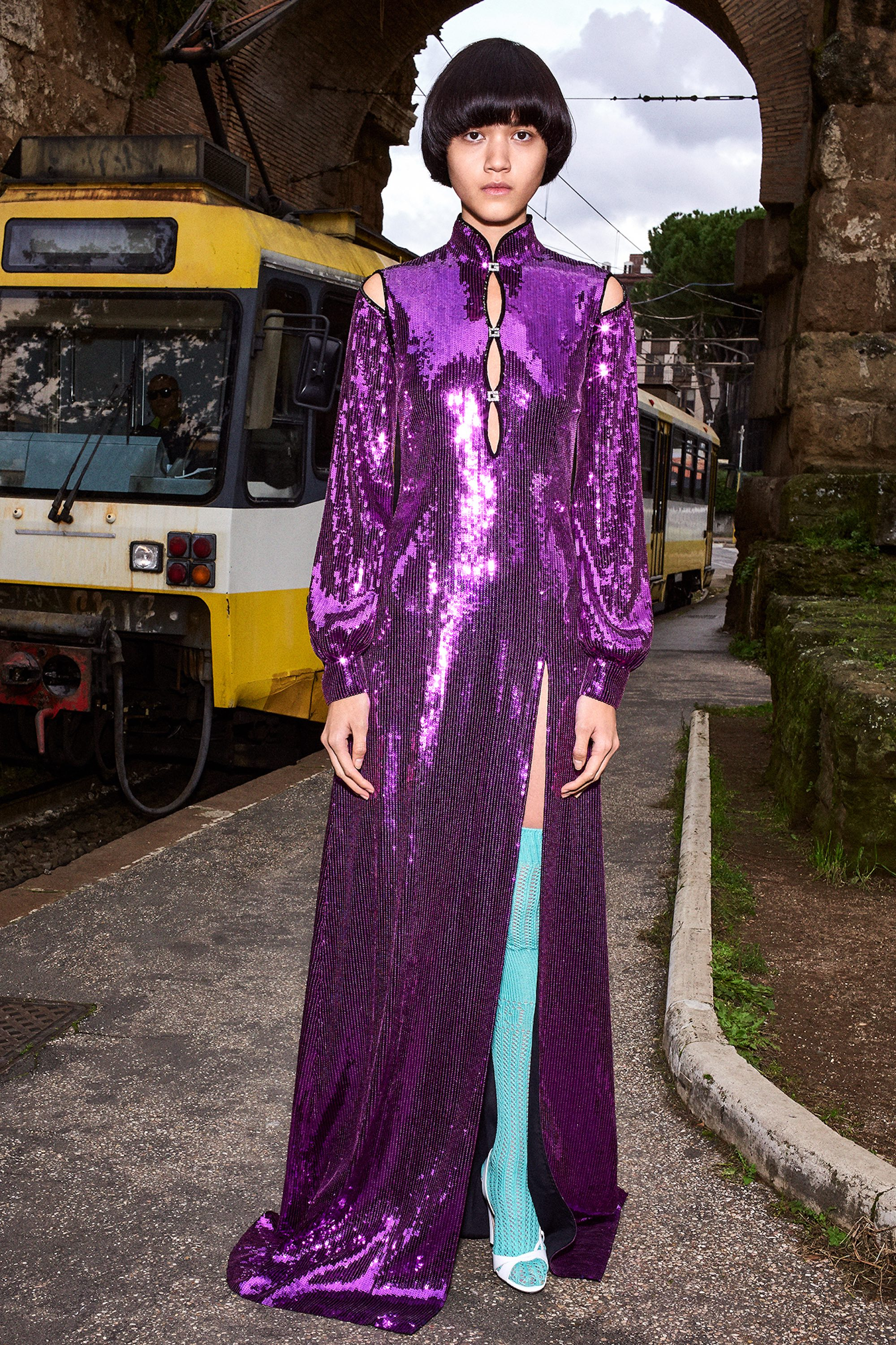 Gucci Pre Fall 2020 Lookbook shot by Bruce Gilden purple sequins