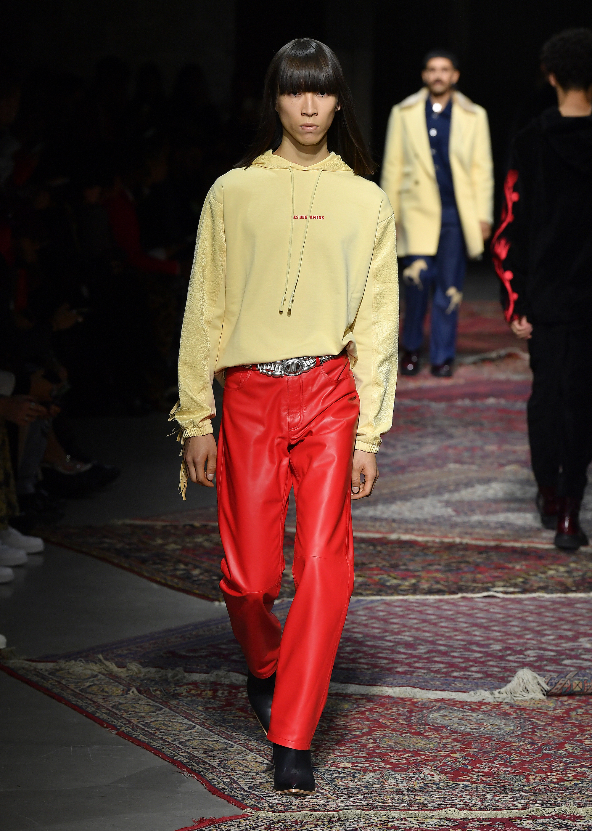 A model walks the runway during Les Benjamins Menswear Fall/Winter 2020-2021 show as part of Paris Fashion Week on January 17, 2020 in Paris, France - red leather trousers